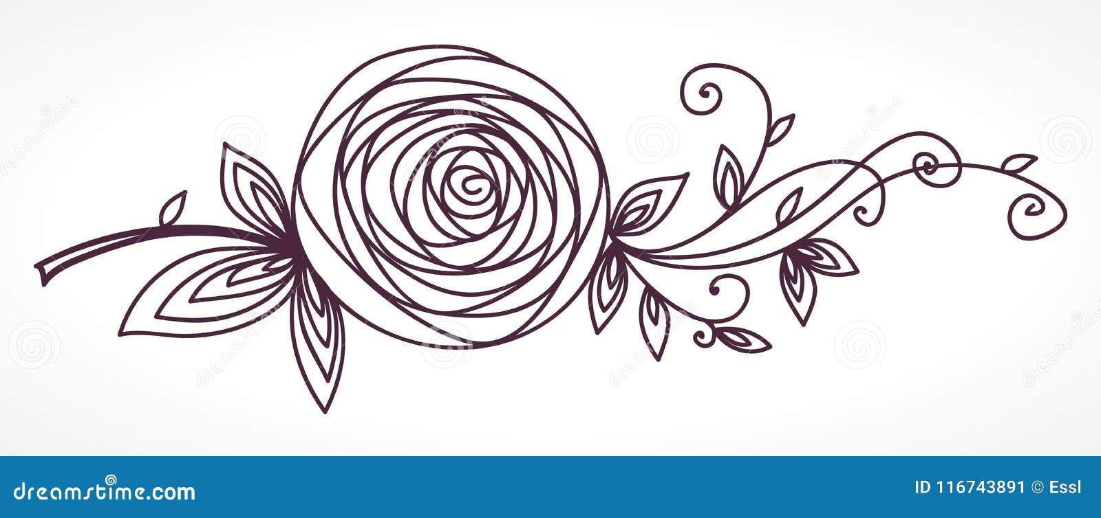 Rose Dessin Stylise De Main De Fleur Illustration De Vecteur