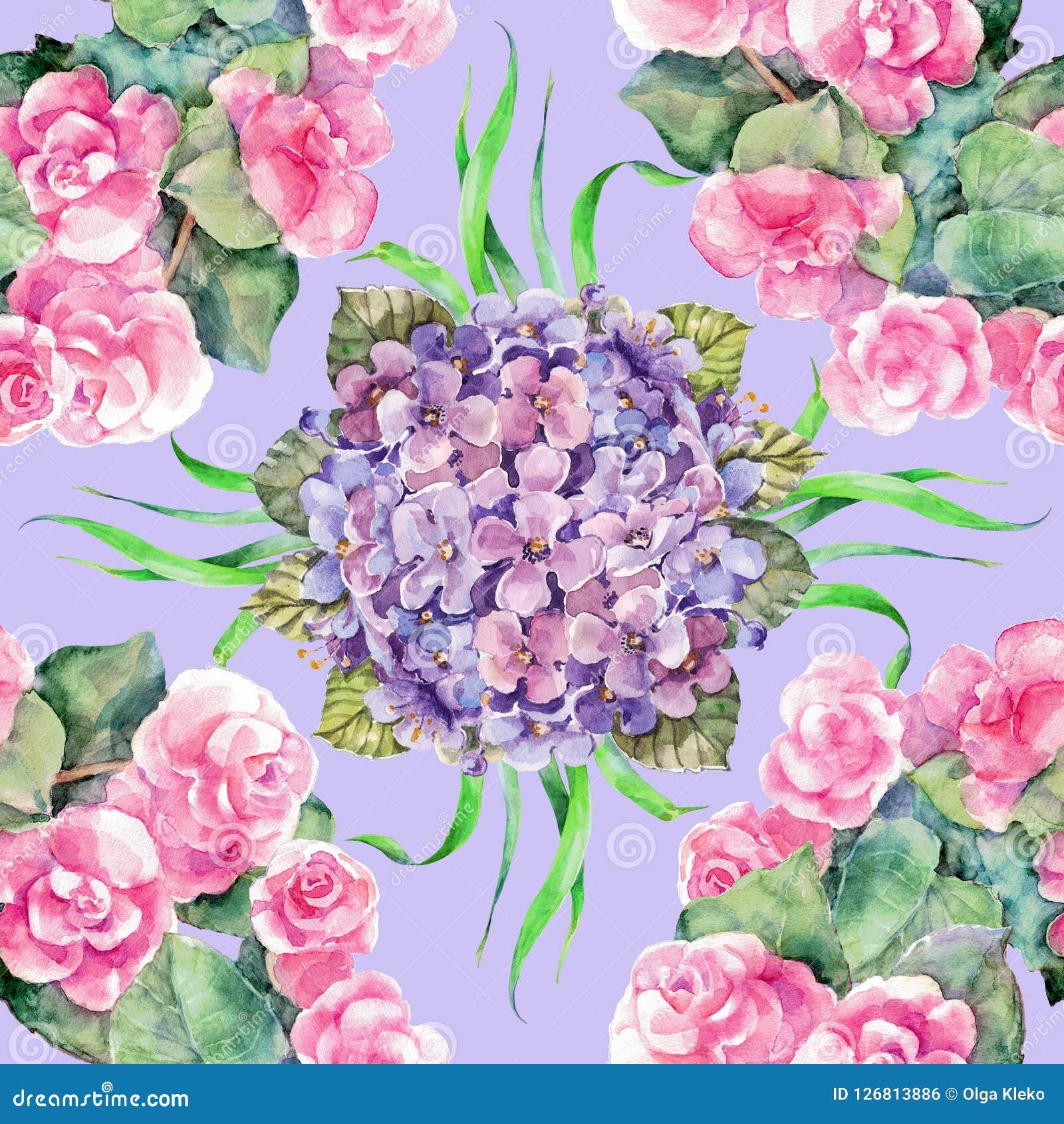 Rose e ortensia del mazzo dell acquerello su fondo viola Reticolo senza giunte