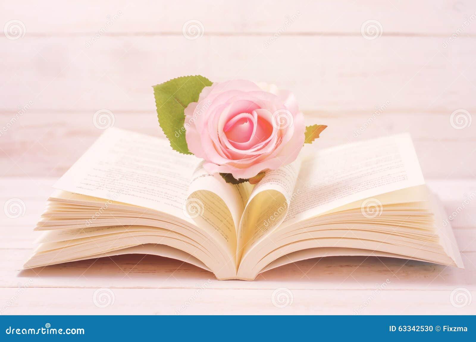 rose en pastel et livre ouvert avec la forme de coeur dans la page moyenne photo stock image. Black Bedroom Furniture Sets. Home Design Ideas
