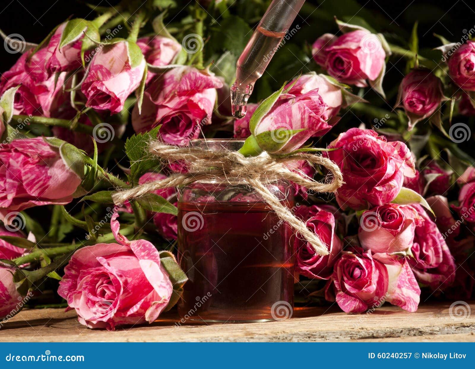 Rose Essential Oil Stock Photo Image 60240257