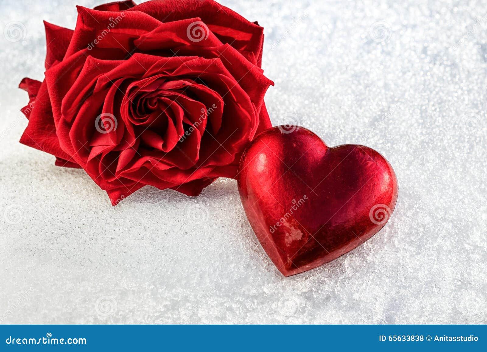 Rose et coeur rouge sur la neige humide de glace, foyer sélectif