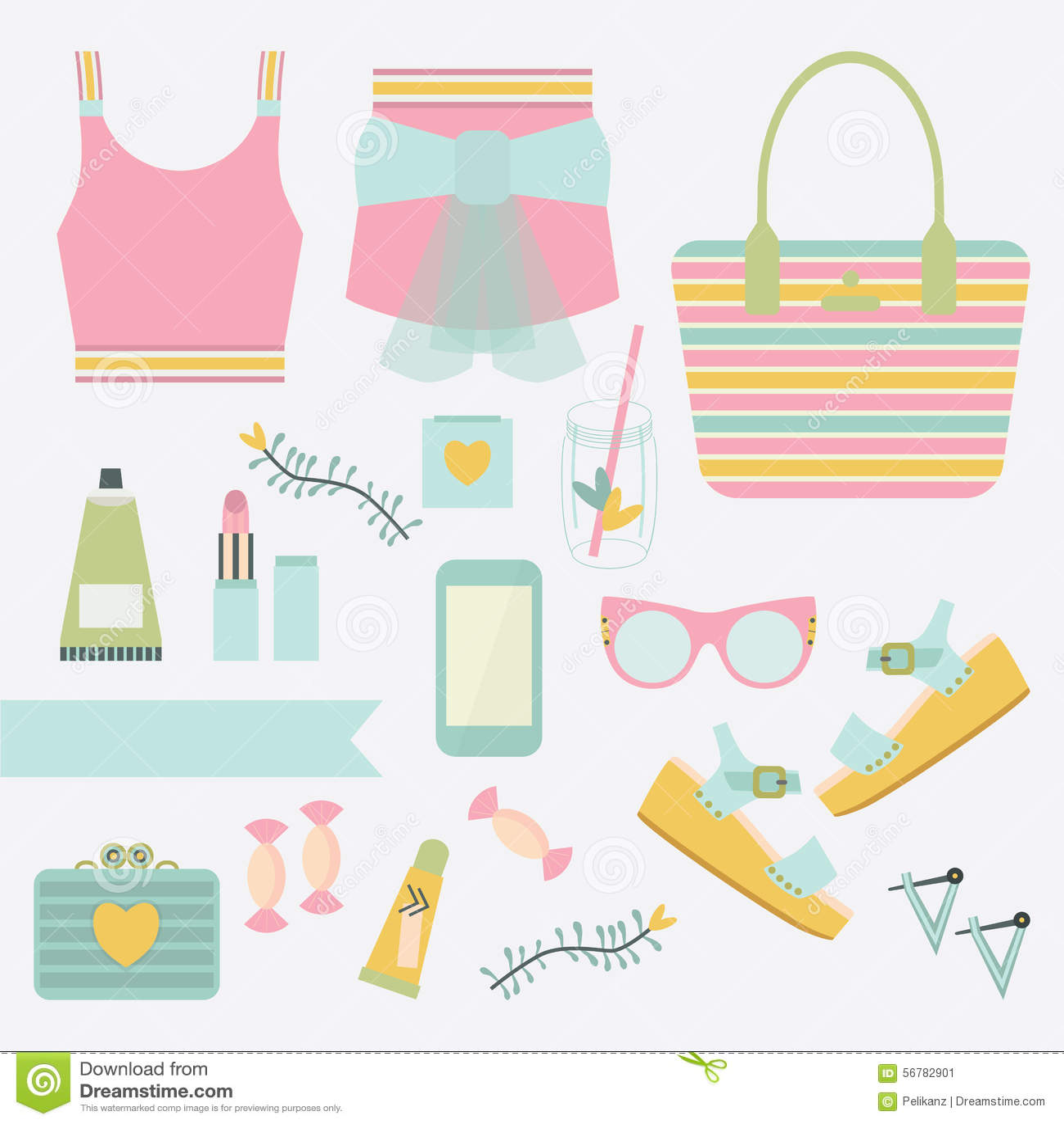 Rose et ensemble de vêtements de mode et d\u0027accessoire d\u0027été de dames