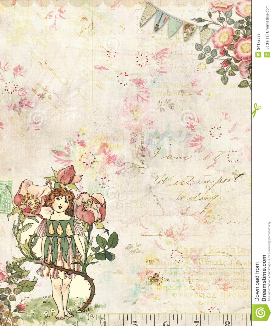 rose fairy with flowers vintage background royalty free
