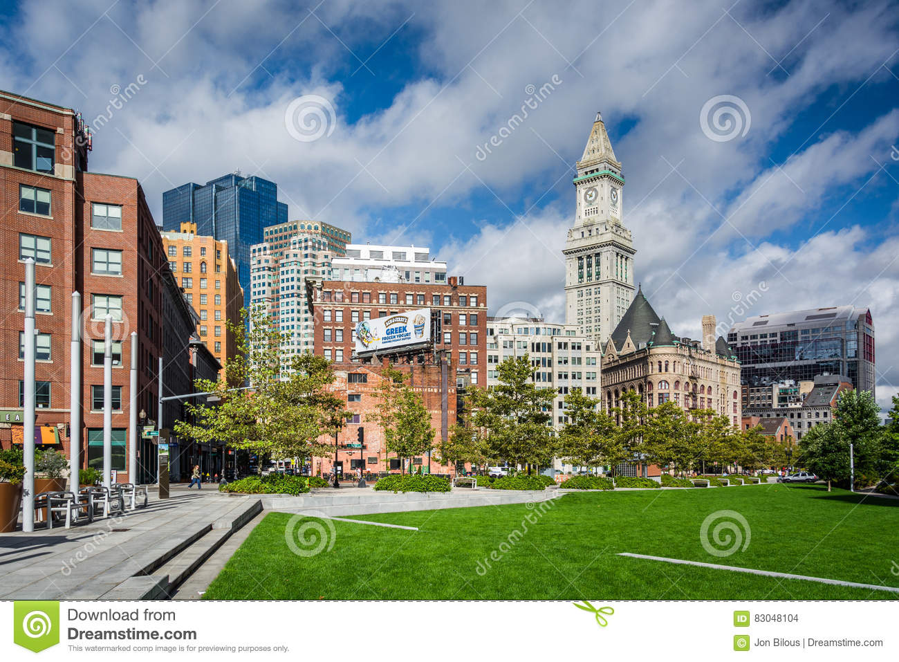 The Rose Fitzgerald Kennedy Greenway Park And Custom House Tower In