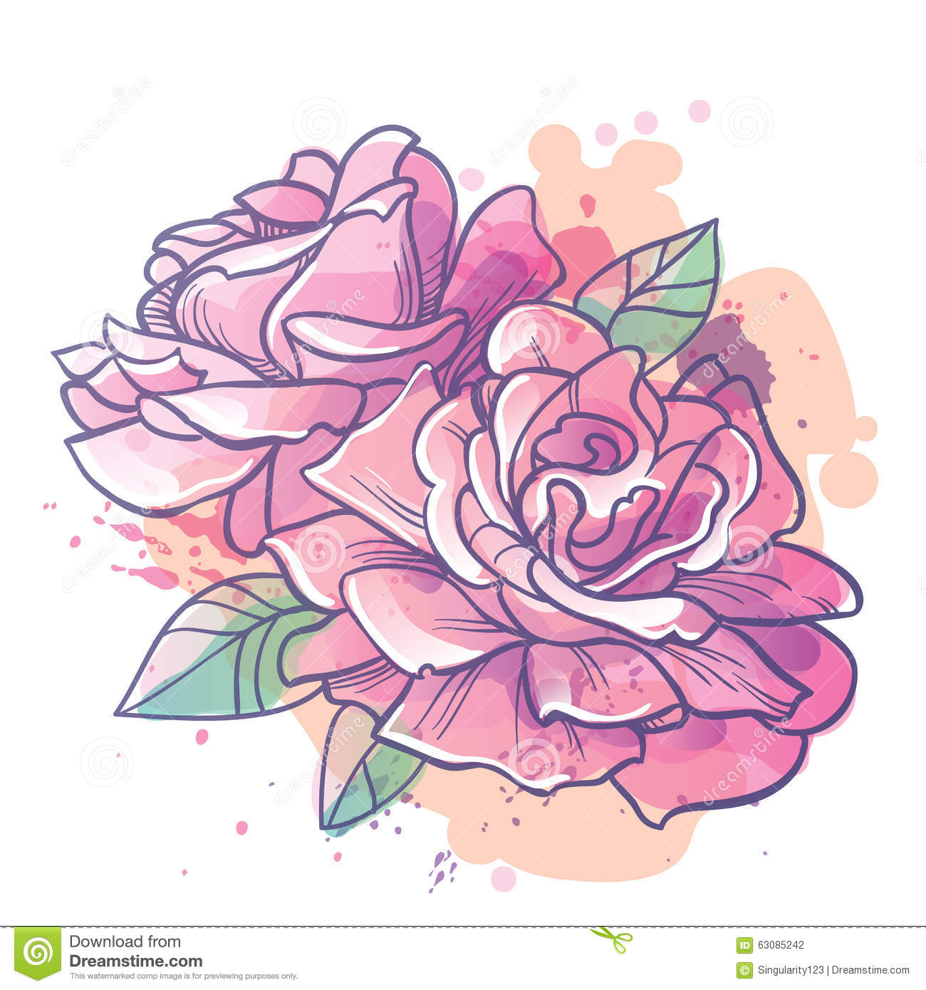 Download Rose Fleurit L'illustration Illustration Stock - Illustration du couleur, illustration: 63085242