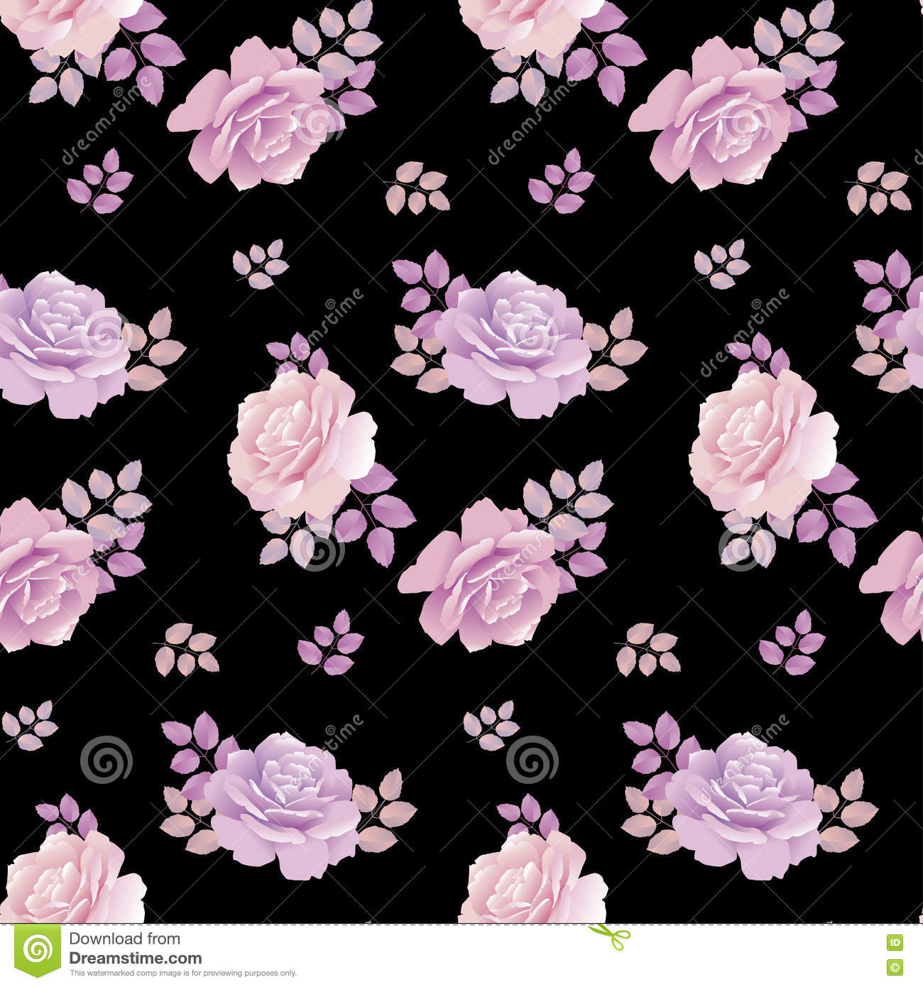 Rose Floral Pattern On Black Background Stock Vector