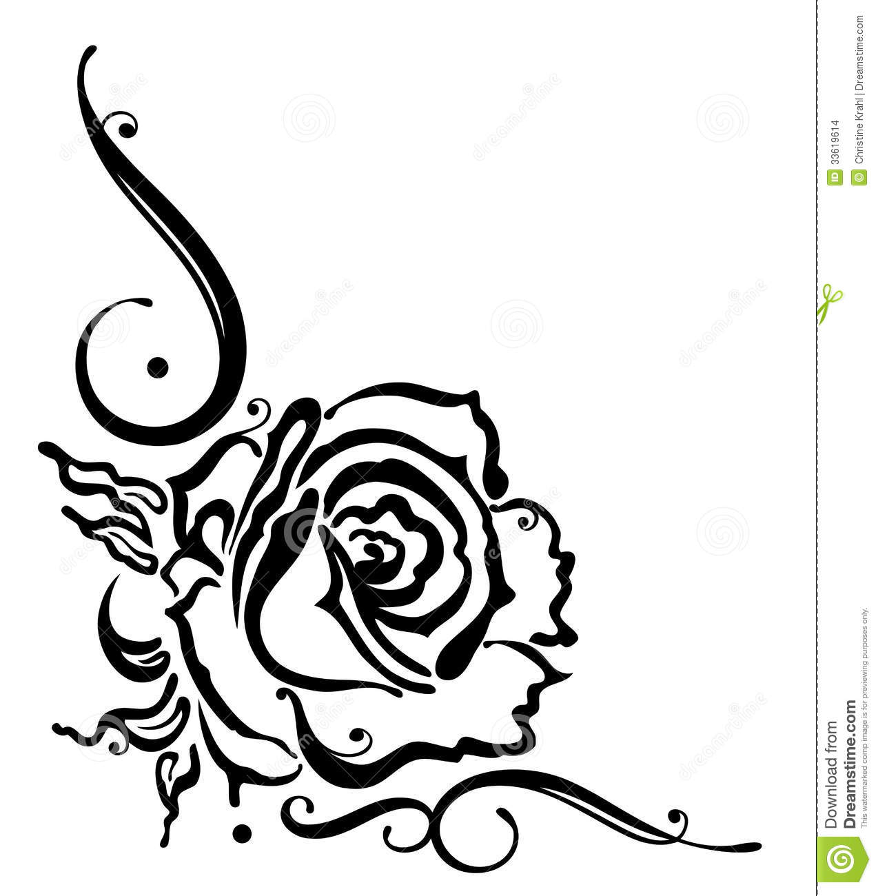 Rose Flower Border Stock Vector Illustration Of Black