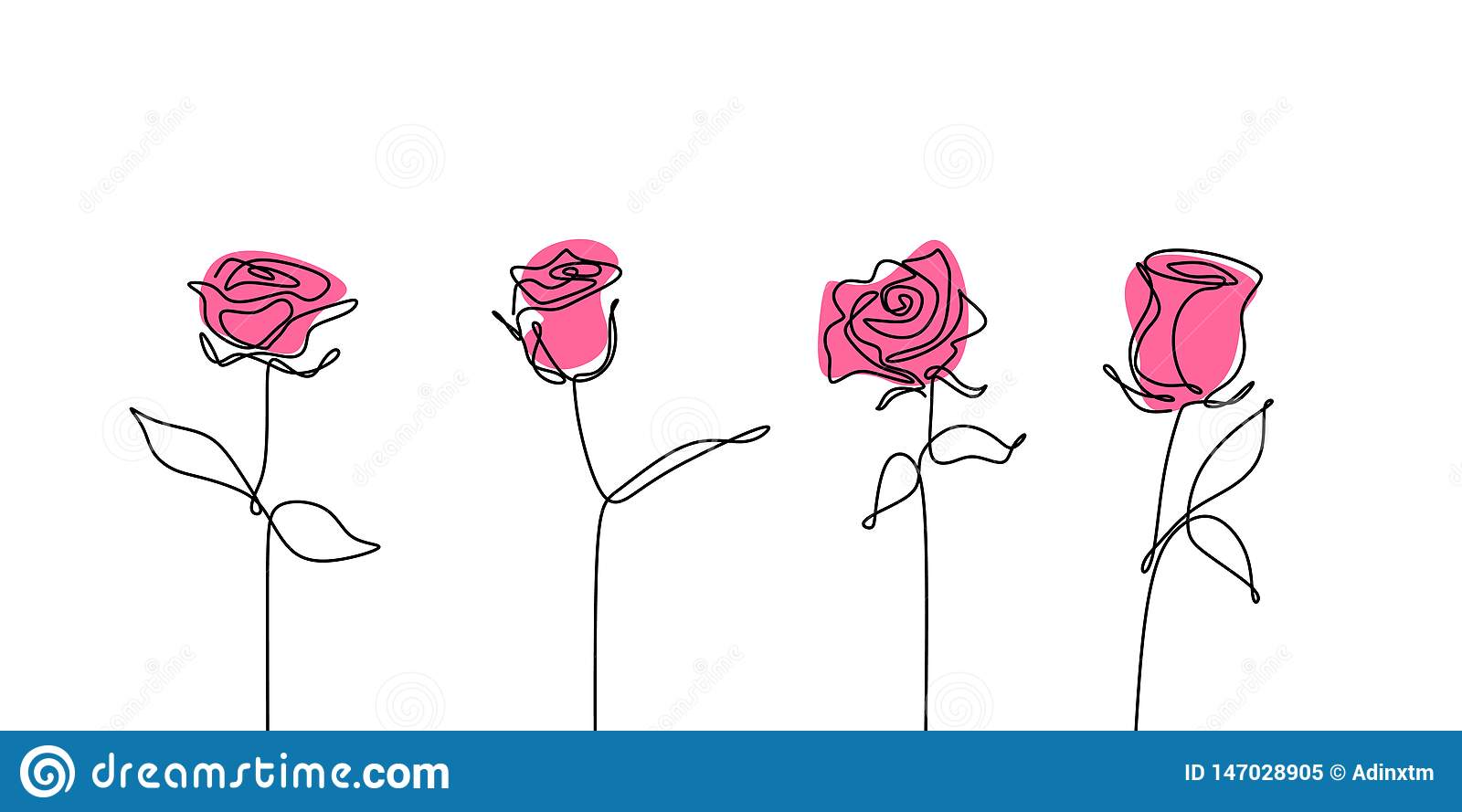 Rose flower continuous line drawing set collections