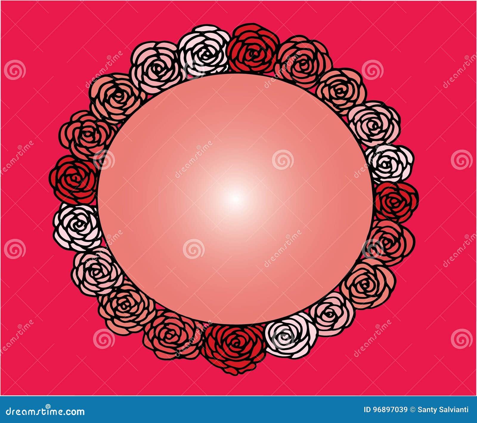 Rose Flower Cute Frame. Beautiful Wedding Invitation. Simple Doodle ...