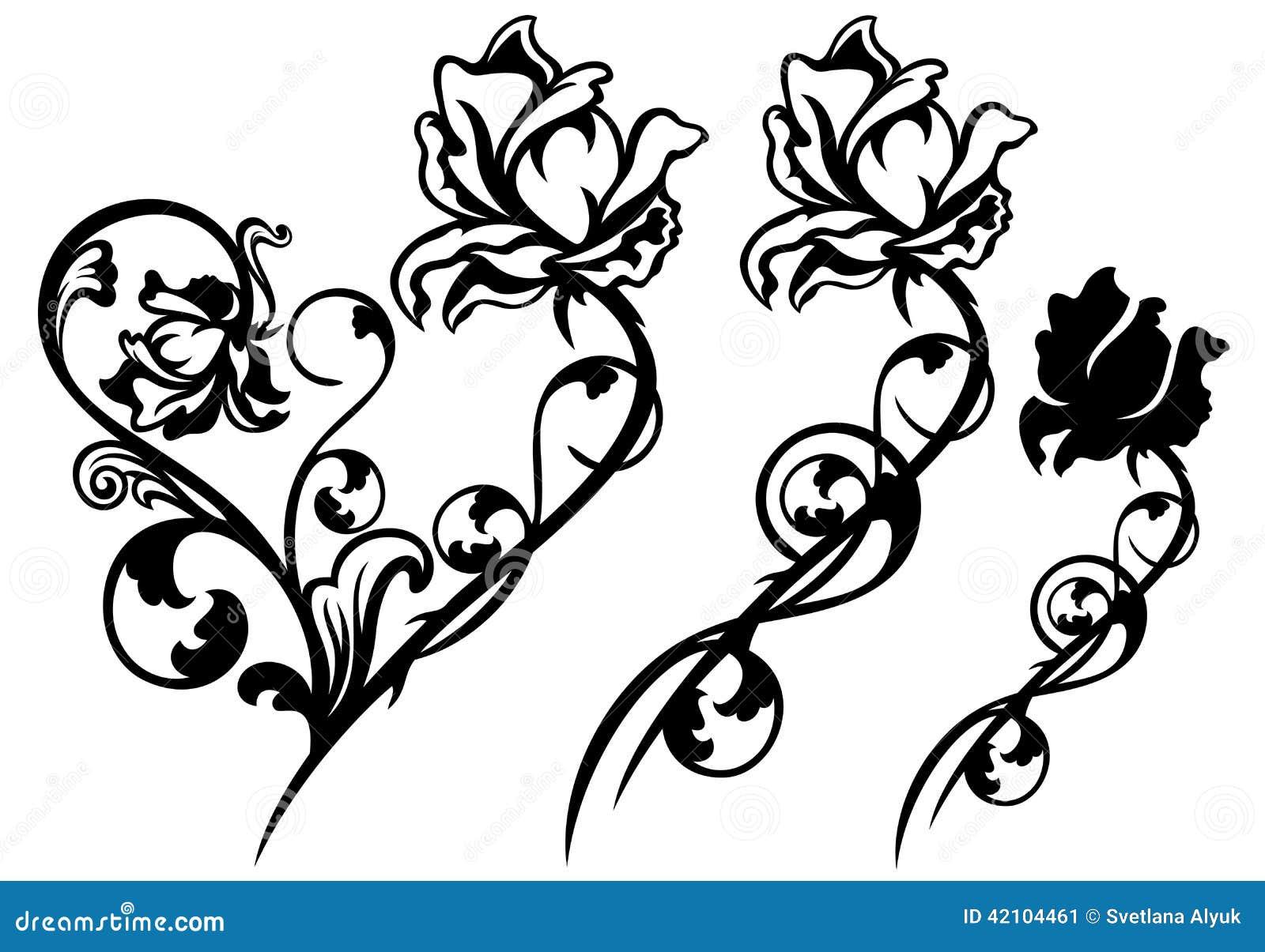 Rose Line Art Flower Design : Rose flower decor stock vector illustration of plant