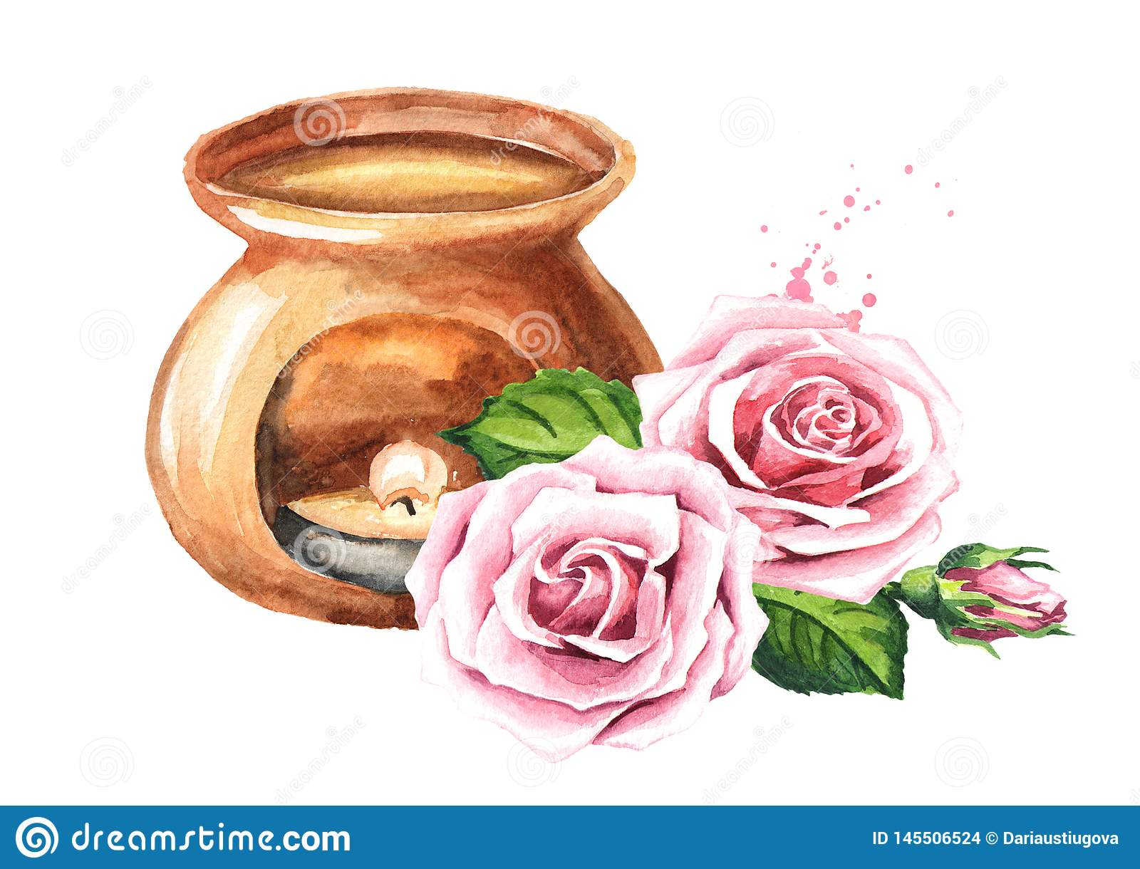 Rose flower essential oil and aroma lamp. Watercolor hand drawn illustration isolated on white background