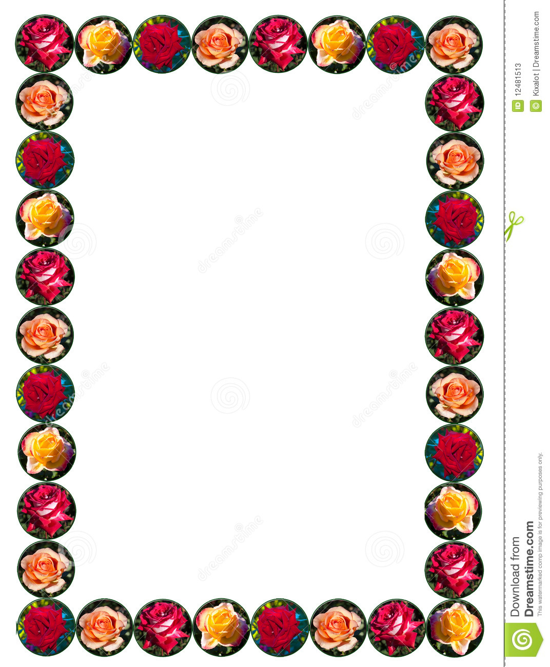 Frame/border composed of red, peach, pink and yellow roses in round ...