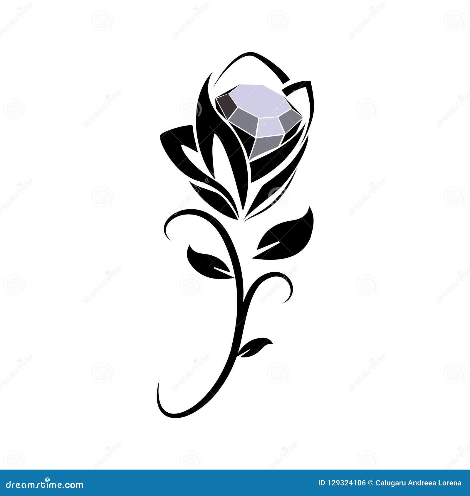 Black diamond rose icon stock vector. Illustration of