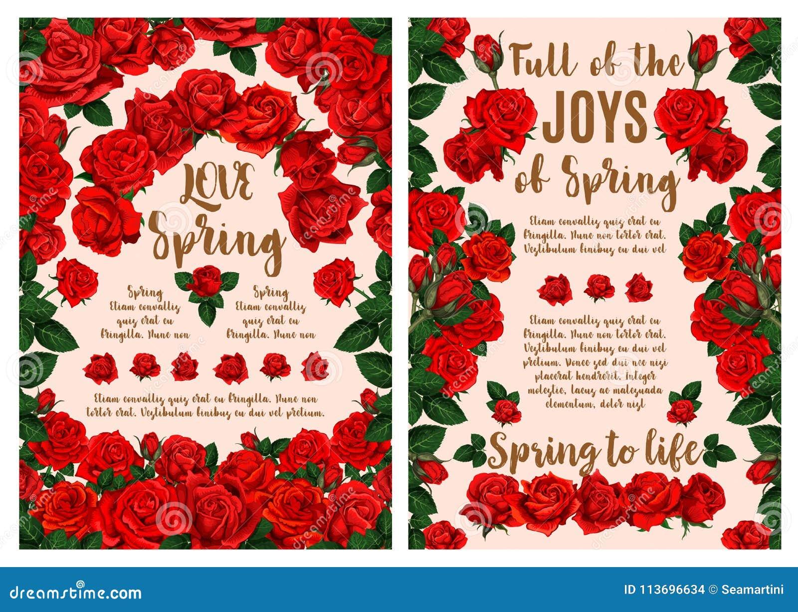 Rose Flower Greeting Card For Spring Season Design Stock Vector