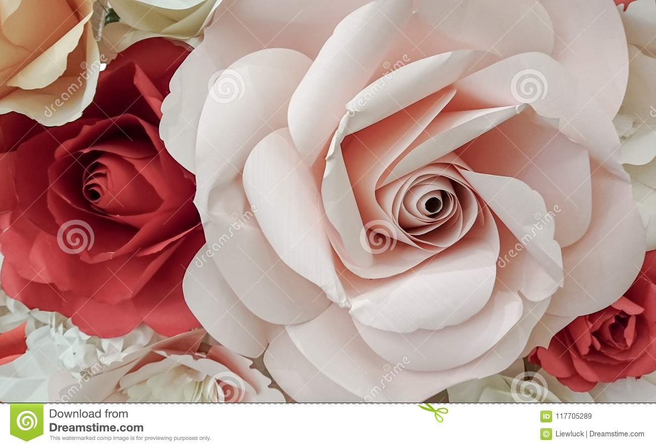 Rose Flower Make With Paper Stock Image Image Of Backdrop Origami