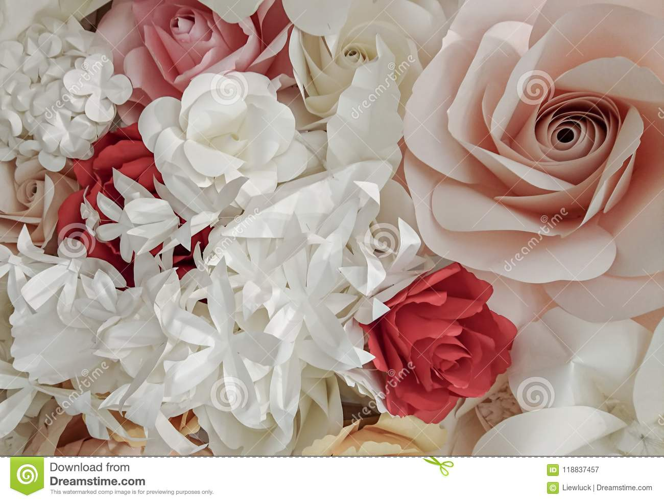 Rose Flower Make With Paper Stock Image Image Of Background