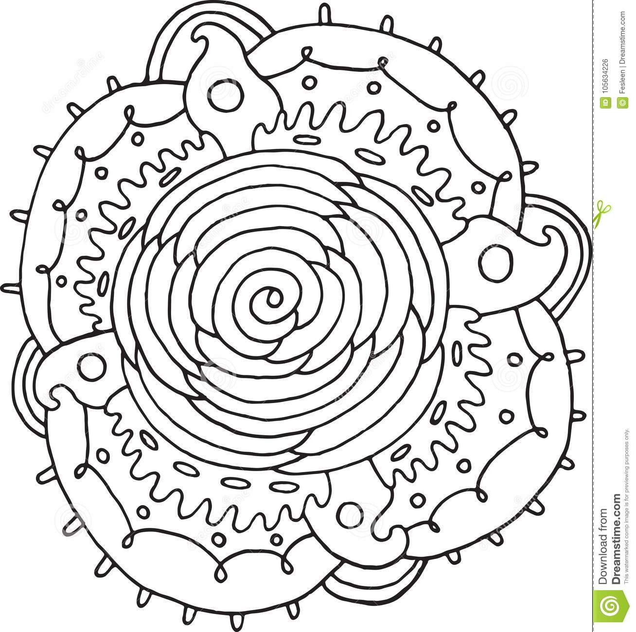 Rose Flower Mandala Doodle Coloring Page For Adults Vector Ill