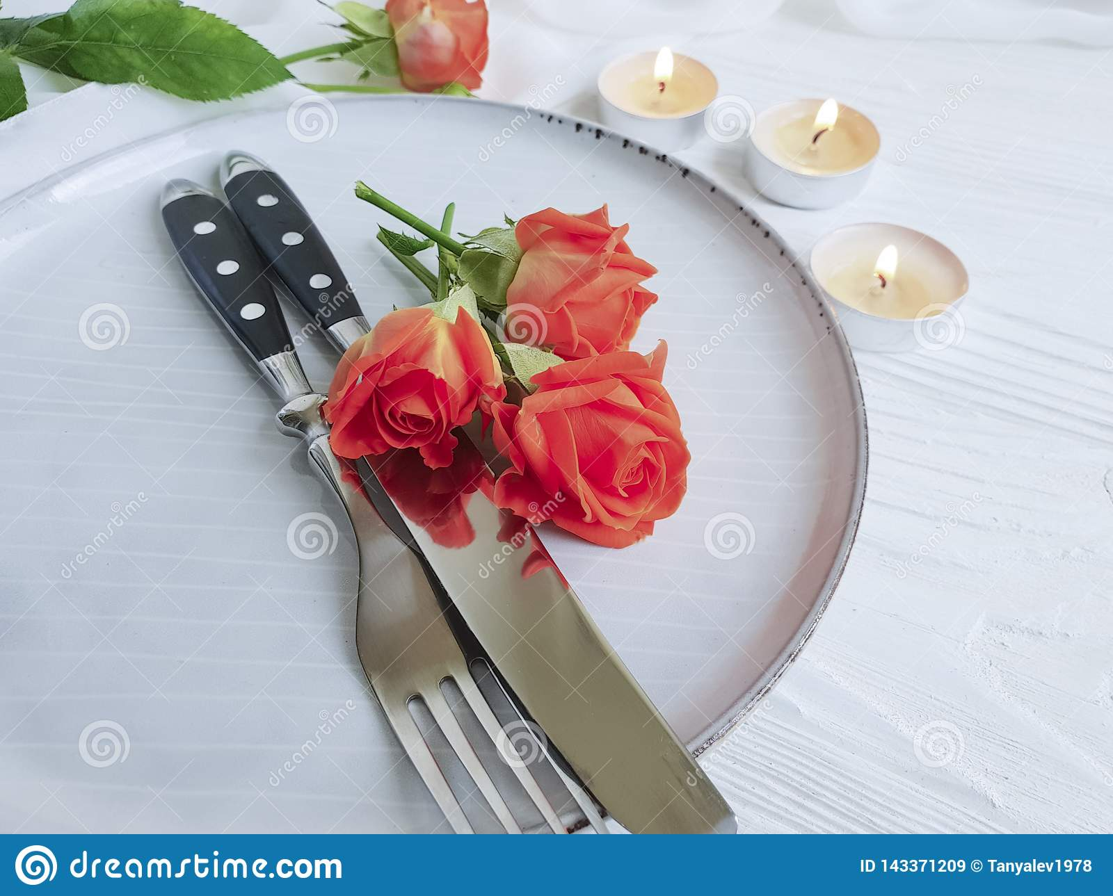 Rose Flower Plate Candle Decoration Cutlery Elegance Romantic