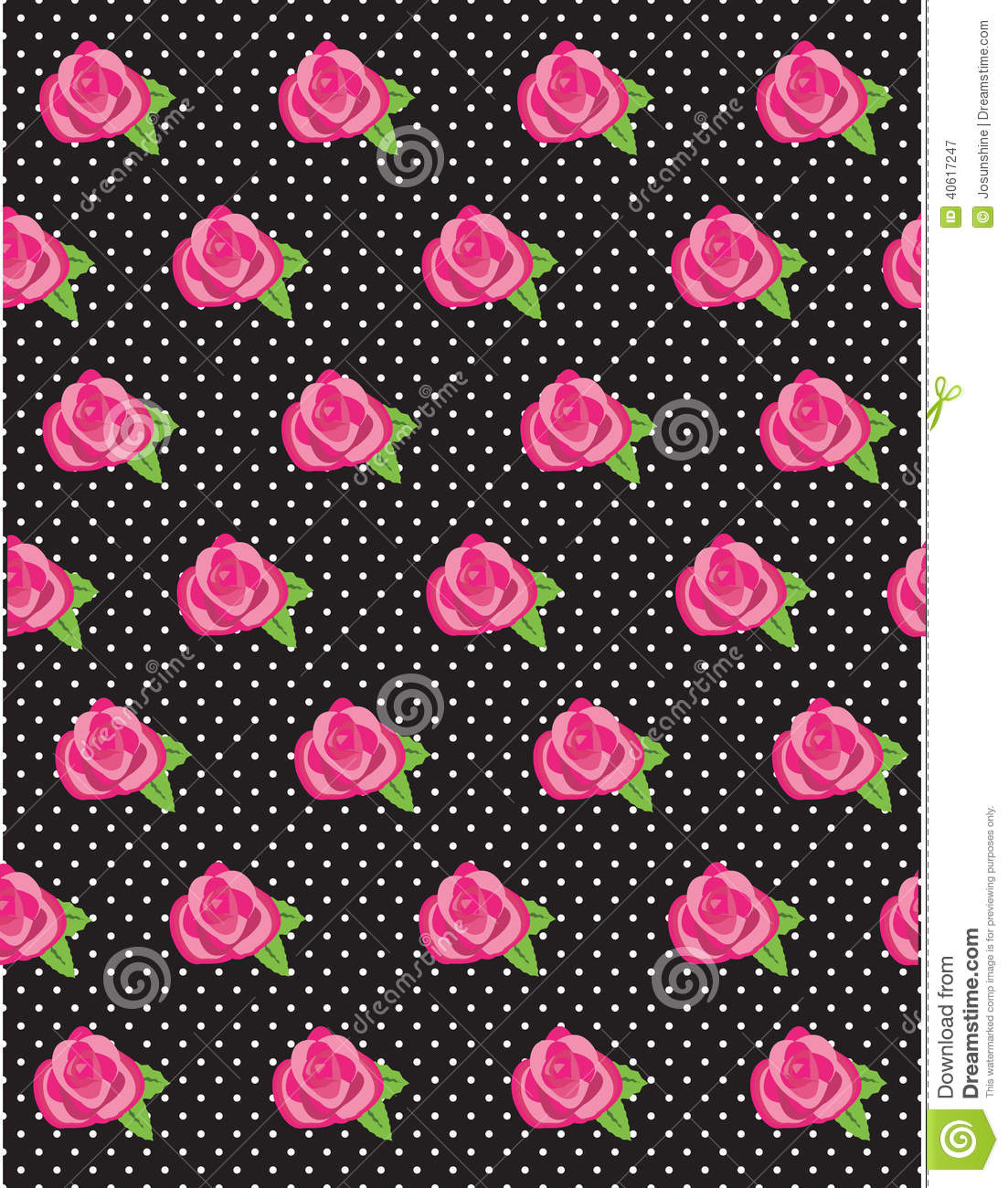 Pink Polka Dot Wallpaper: Rose Flower Polka Dot Pattern Stock Vector
