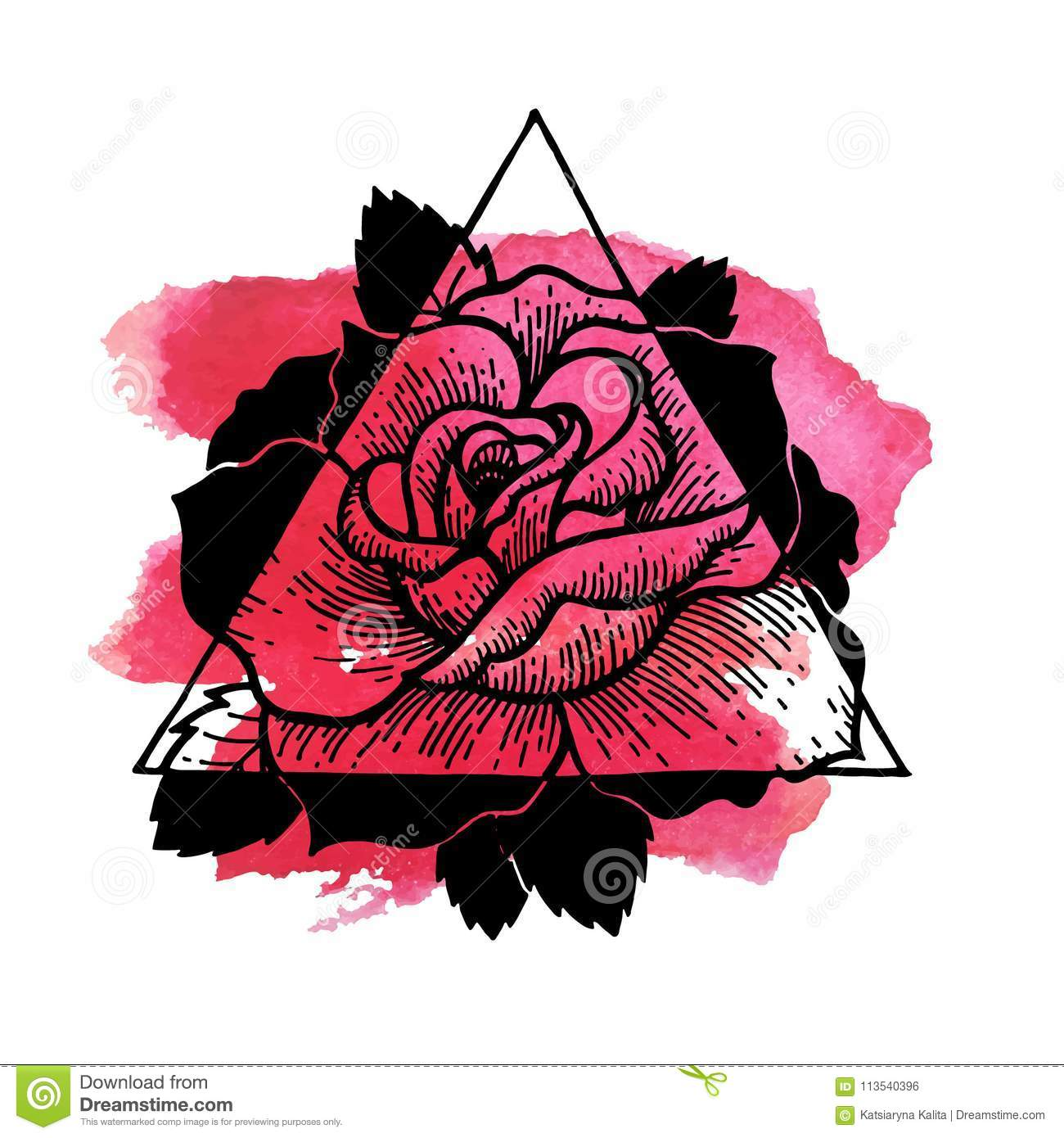 Rose Flower With Sacred Watercolour And Geometry Frame Stock Vector