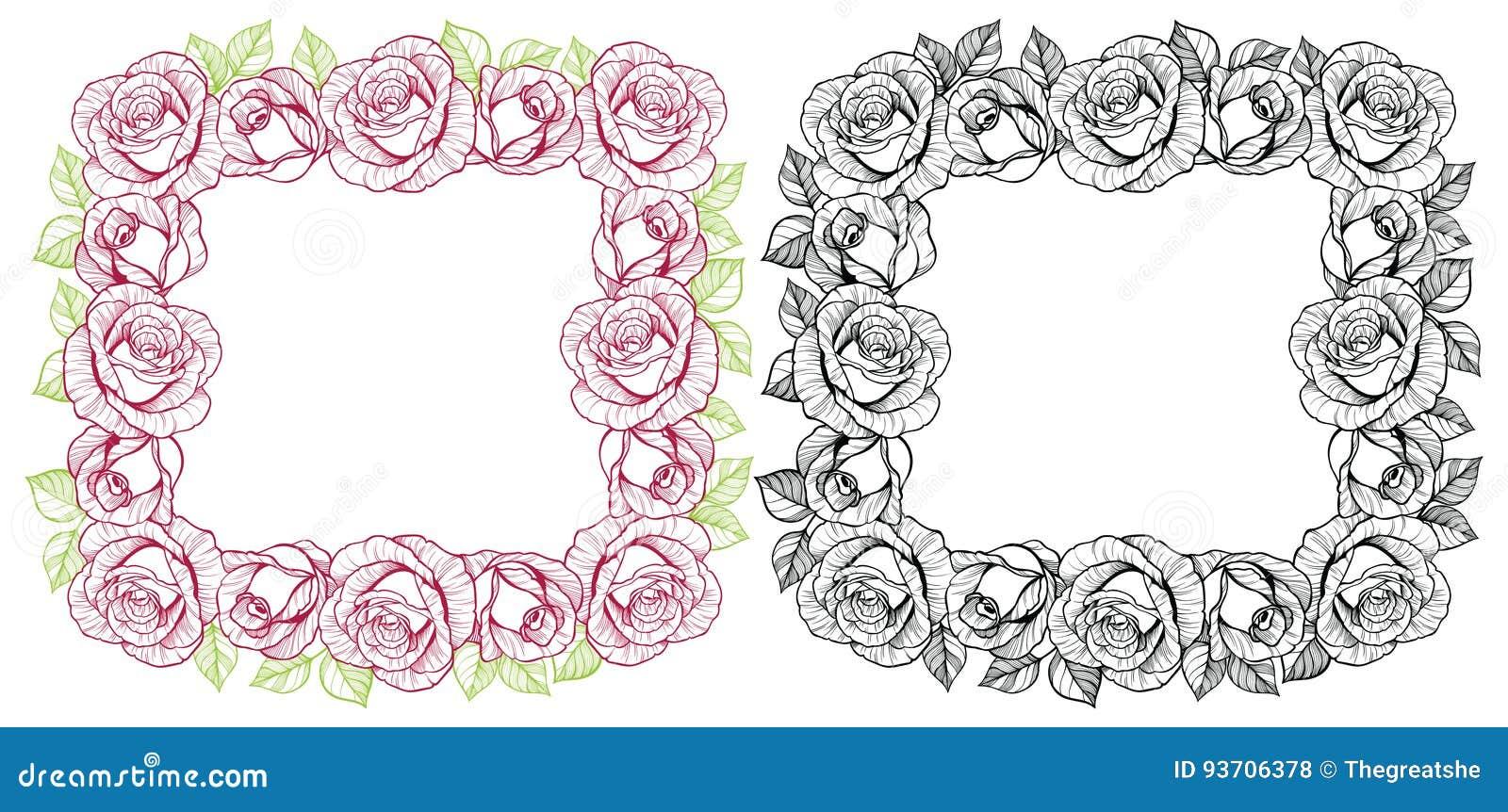 Rose Flower Square Frame Stock Vector Illustration Of Illustrations