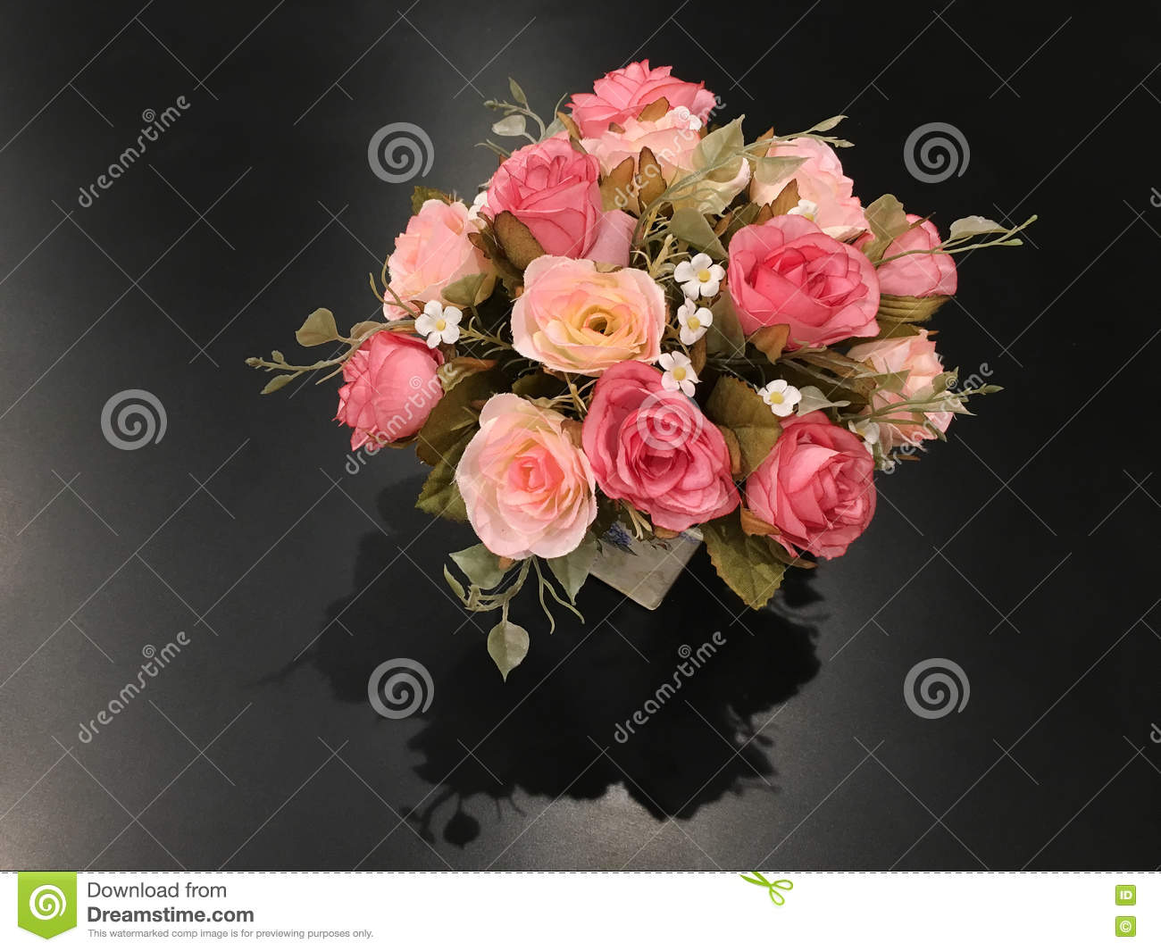 Rose Flower In Version Artificial Flowers Bouquet In Vase On Bla