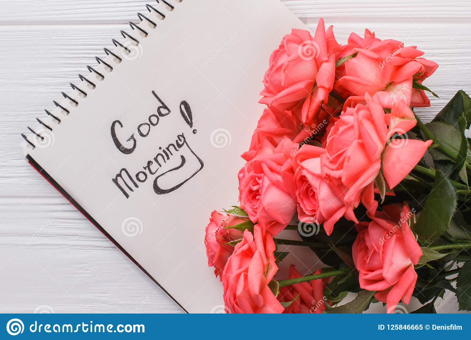Rose Flowers And Good Morning Wish In Notepad Stock Image Image