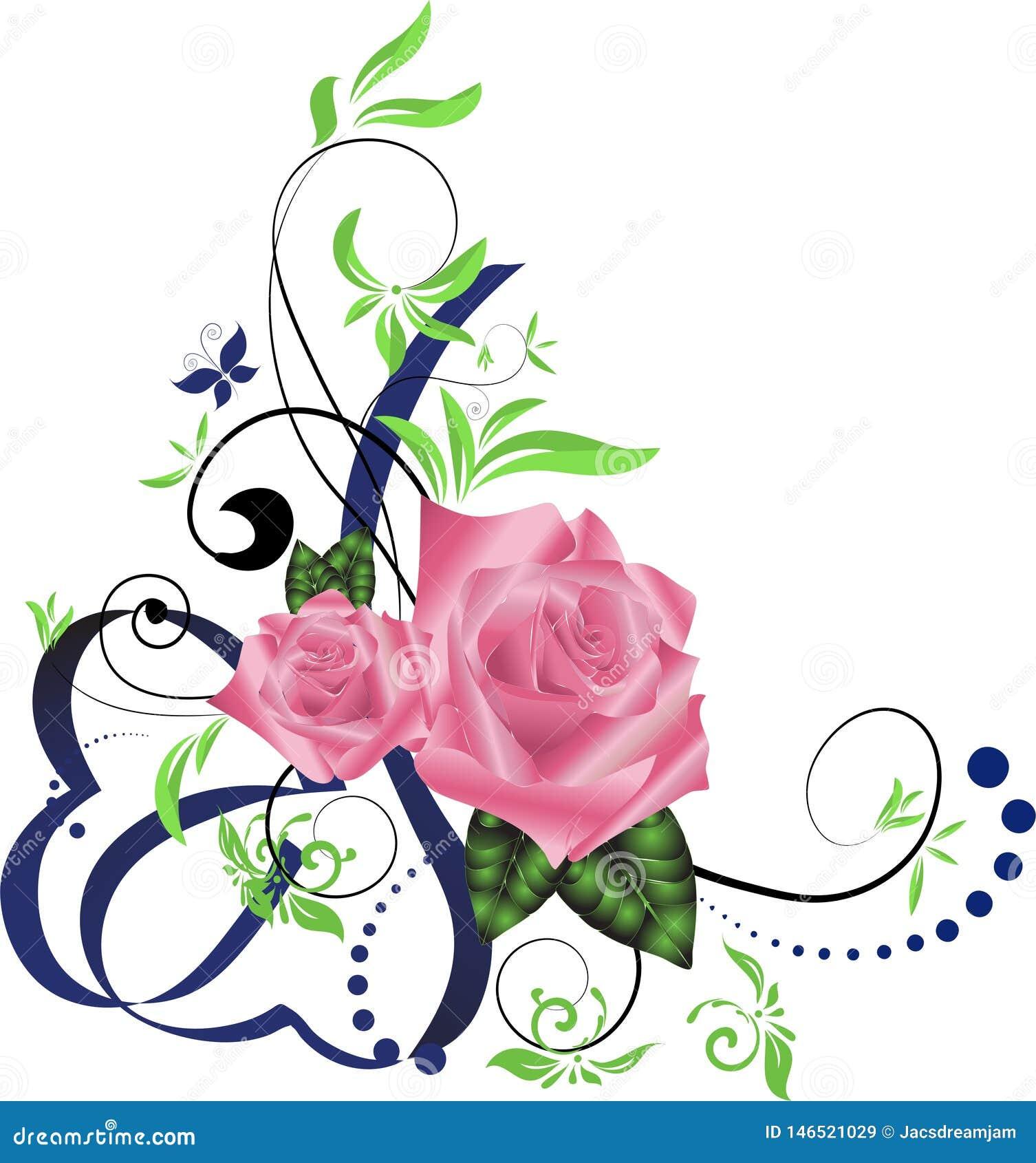 Ribbon Rose Corner Border Stock Vector Illustration Of