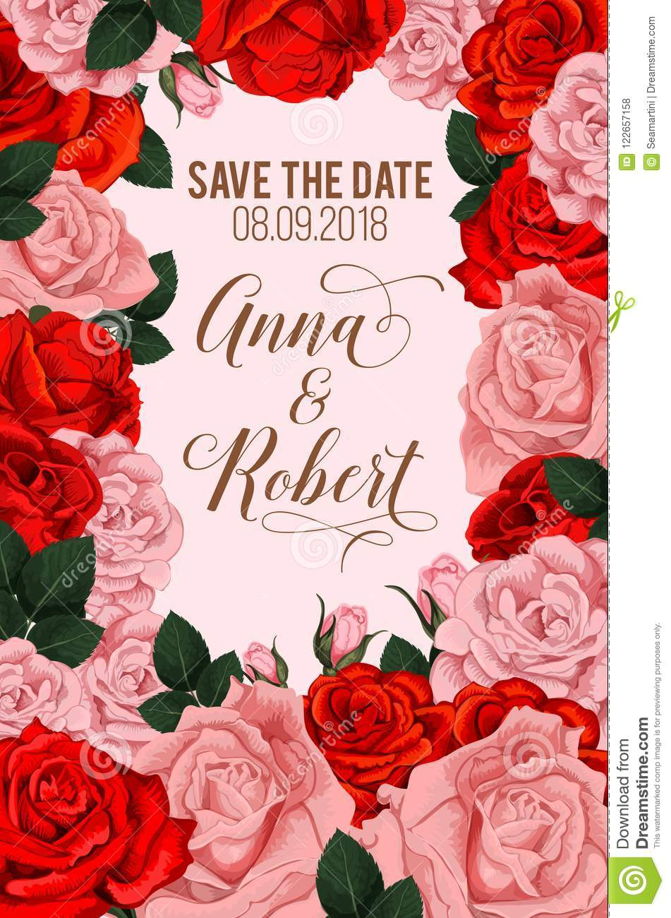 Rose Flowers For Save The Date Vector Card Stock Vector ...