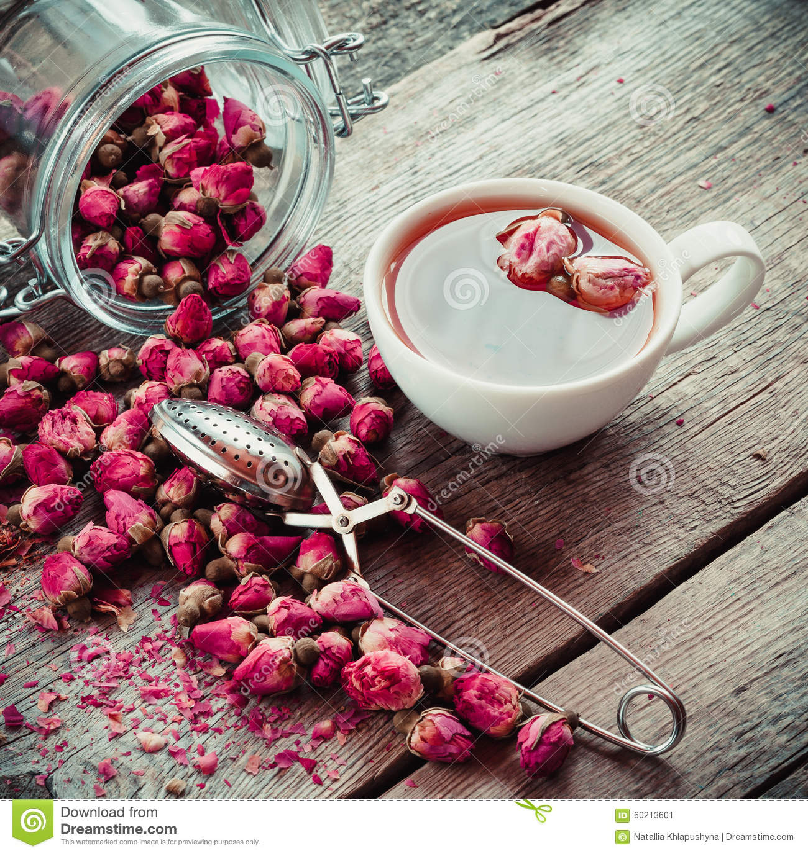 rose flowers tea cup strainer and glass jar with rose buds stock image image 60213601. Black Bedroom Furniture Sets. Home Design Ideas