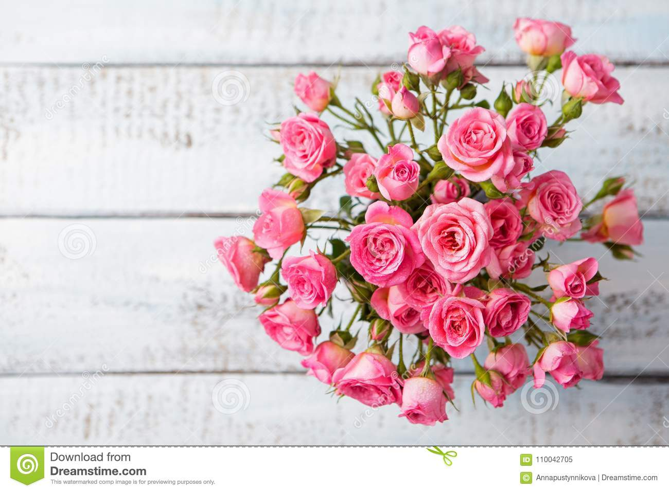 Rose Flowers In Vase Copy Space Top View Stock Image Image Of