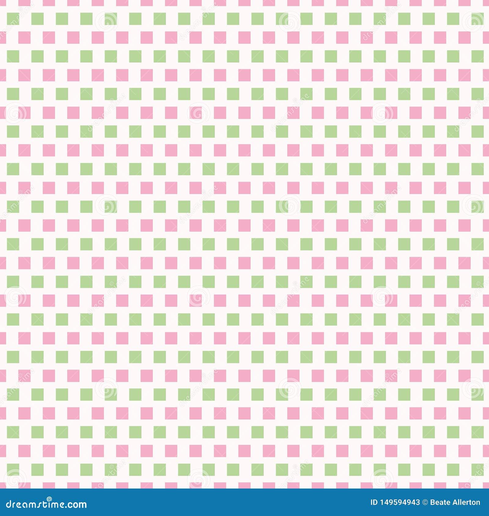 Rose frais et rangées vert clair des places dans la conception de répétition de brique Modèle géométrique sans couture de vecteur