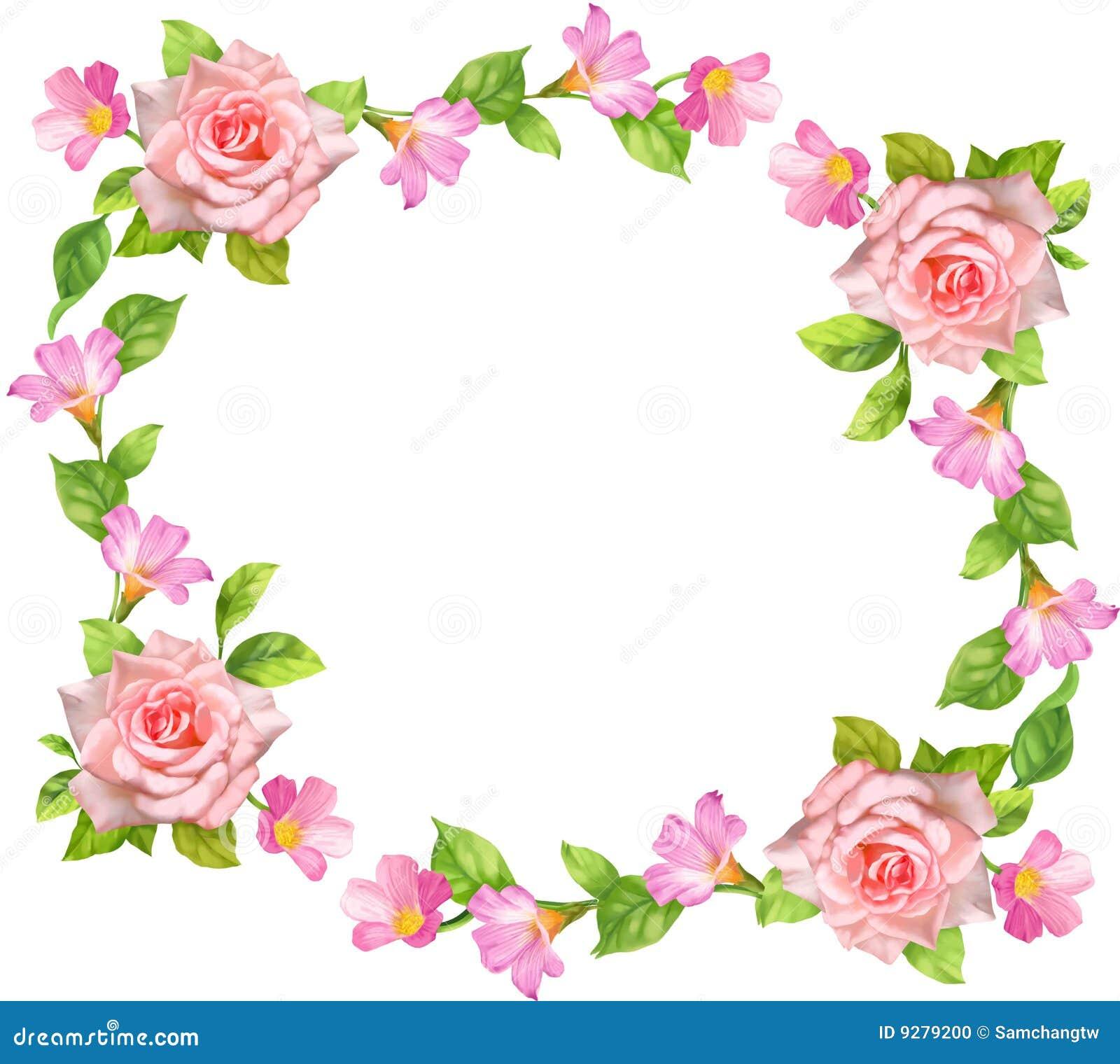Rose frame stock illustration. Illustration of pink, plant - 9279200
