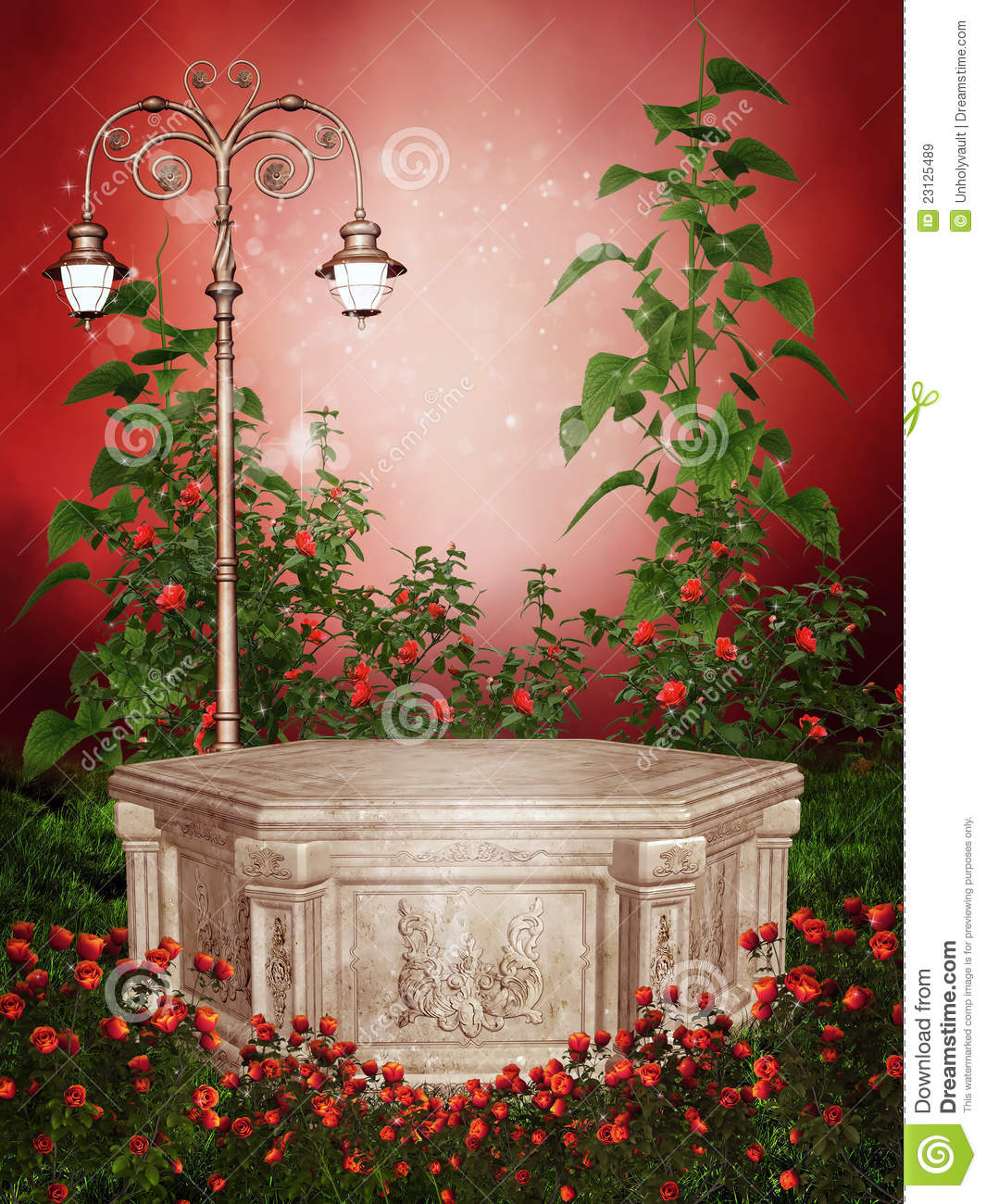 Roses In Garden: Rose Garden With A Victorian Lamp Stock Illustration