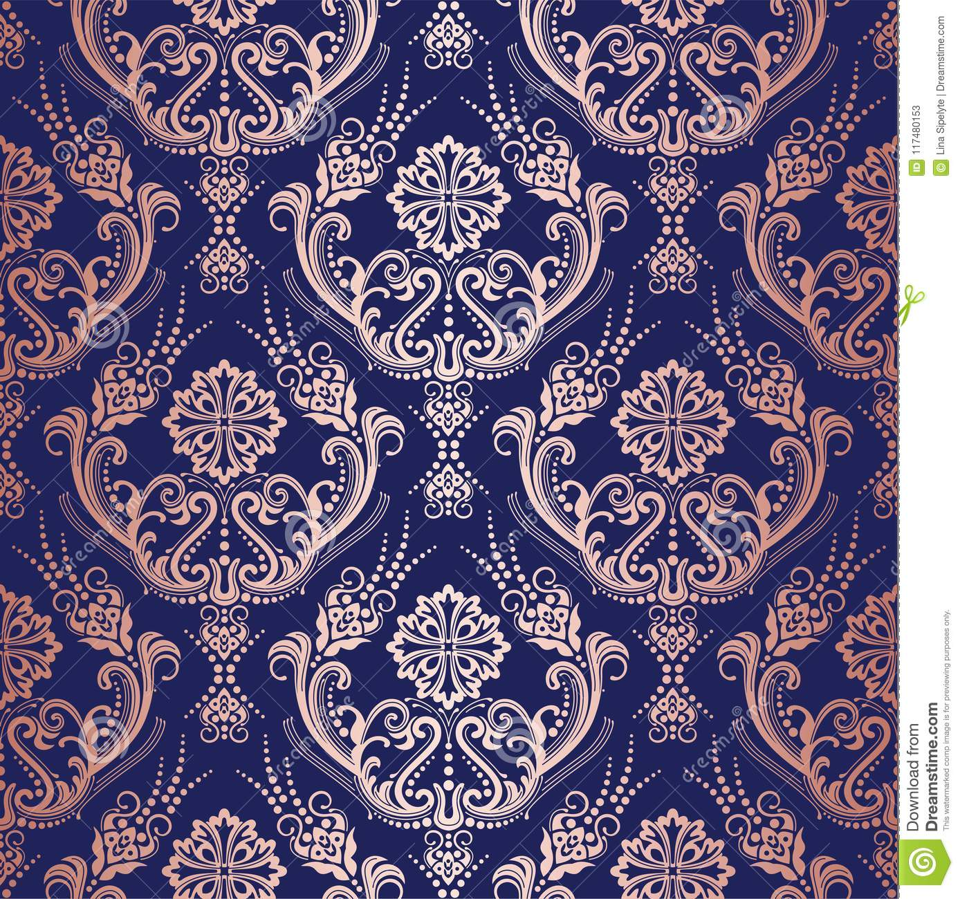 Rose Gold Floral Damask Wallpaper On Navy Background Stock Vector