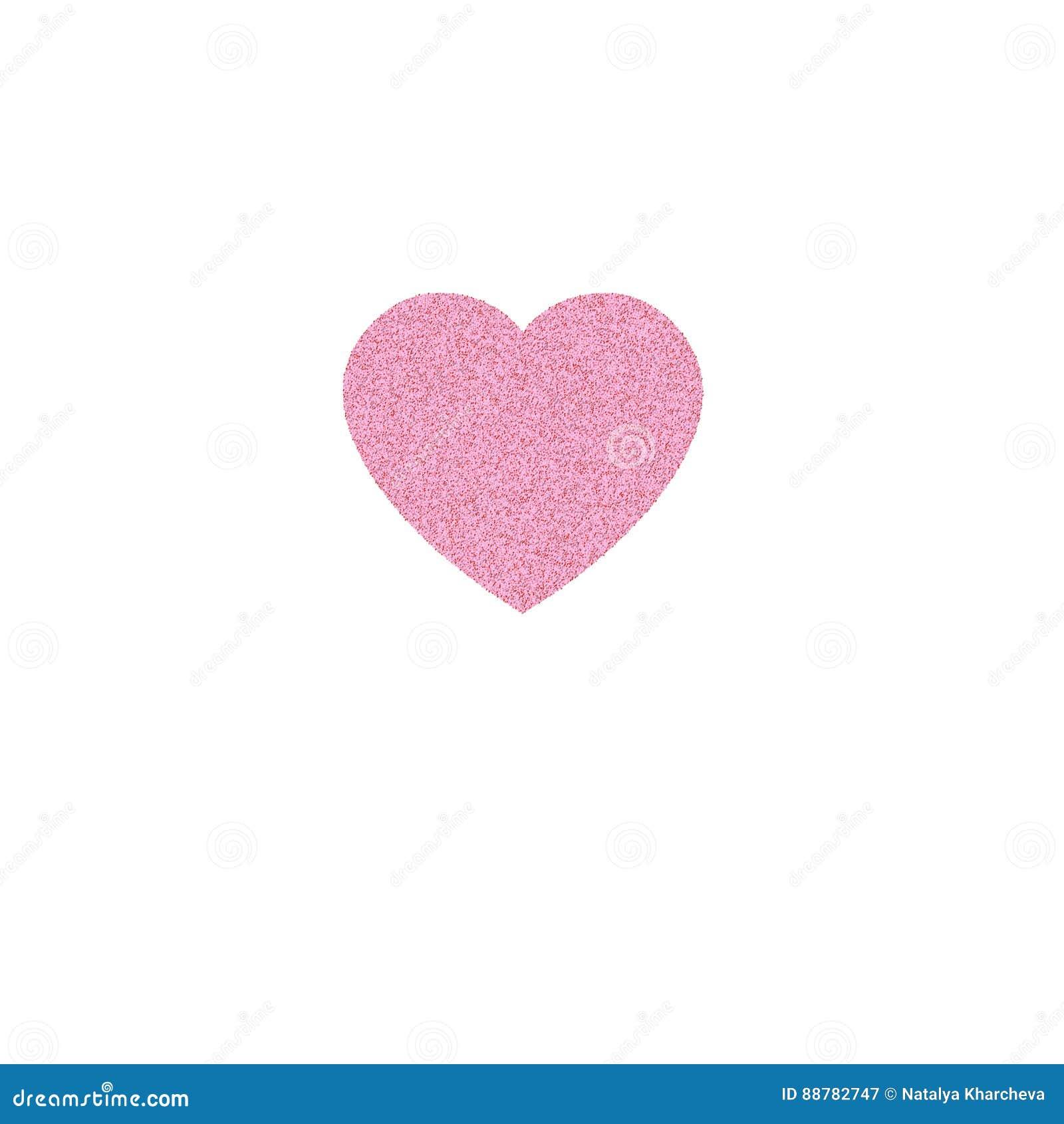 Rose Gold Heart Icon Glitter Logo Love Symbol On White Backgro