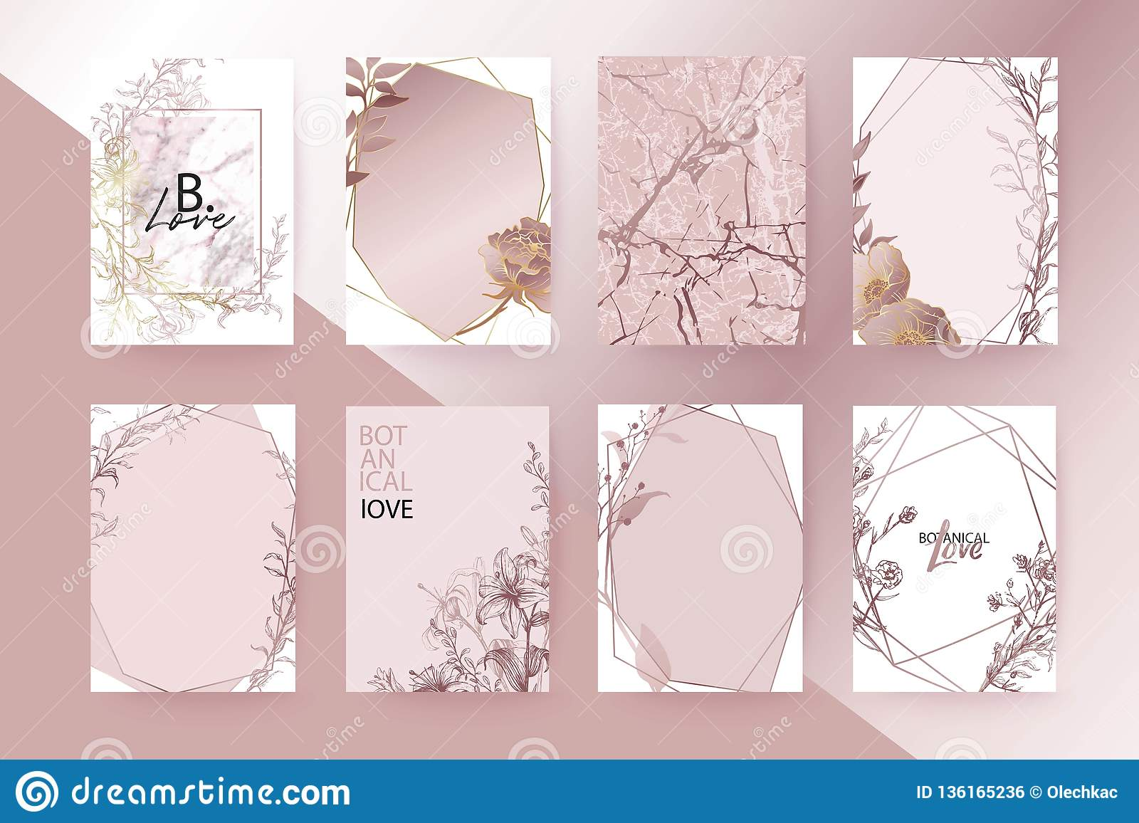 Rose Gold Marble Texture Card Floral Lilies Roses Bouquet