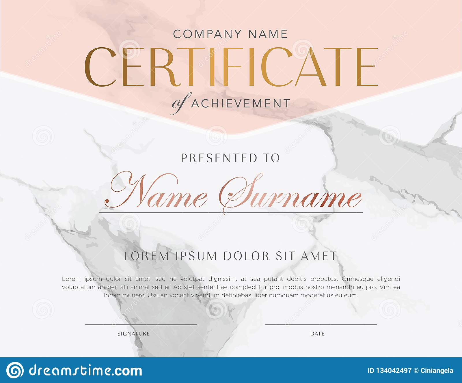 Rose Gold Marble Texture Certificate Stock Vector