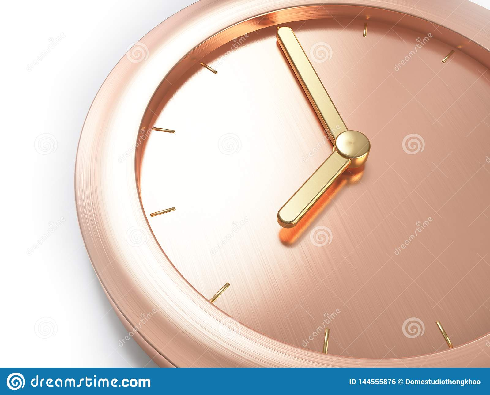 Rose gold,pink gold metallic minimal clock,close up composition eight o`clock abstract 3d render
