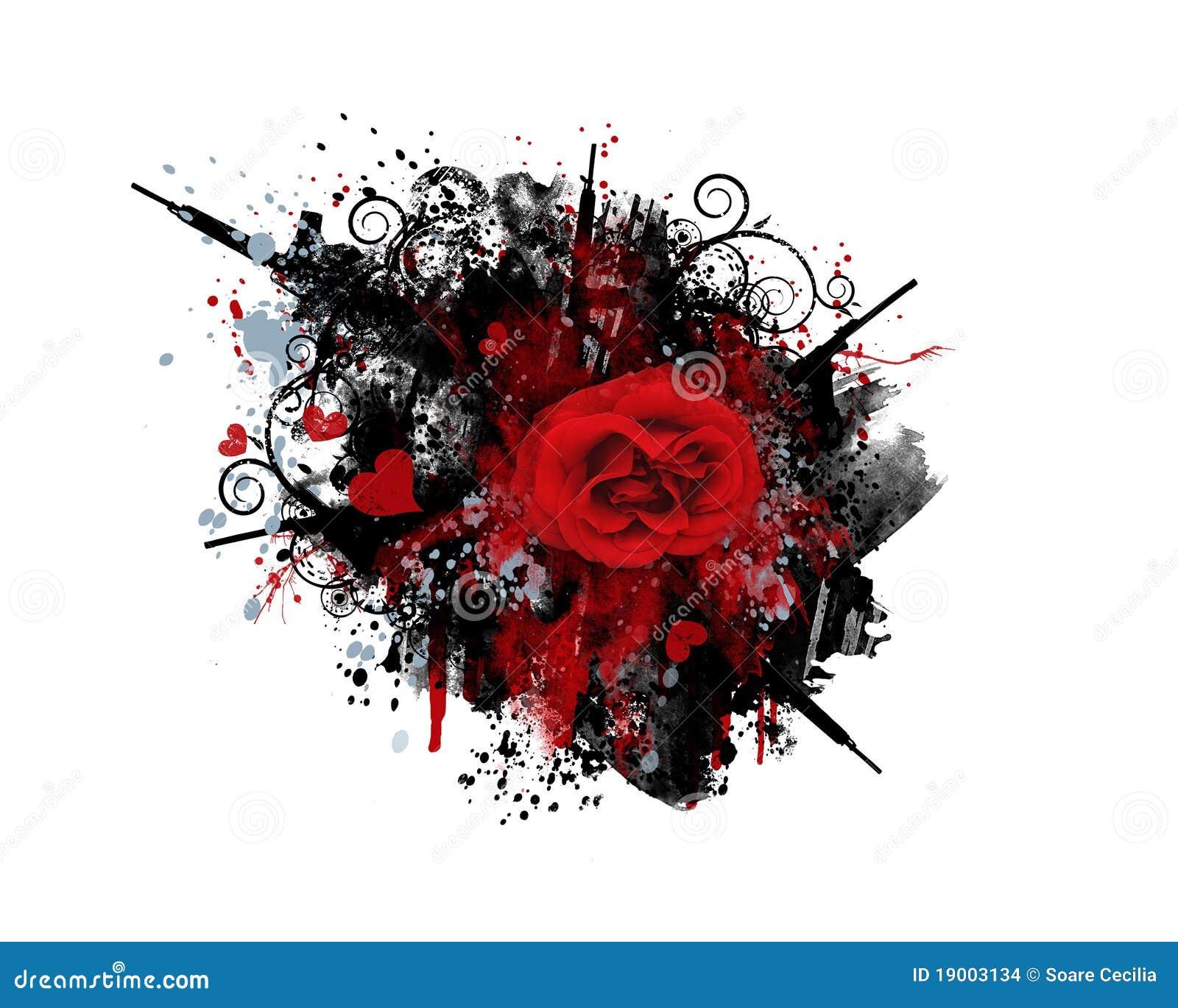 Rose guns and hearts grunge graffiti
