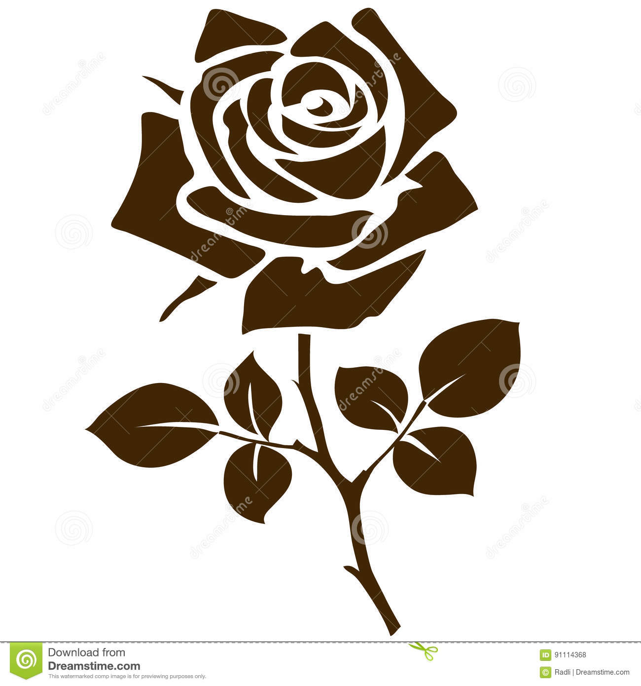 Rose Icon. Decorative Garden Flower Silhouette Isolated On White ...