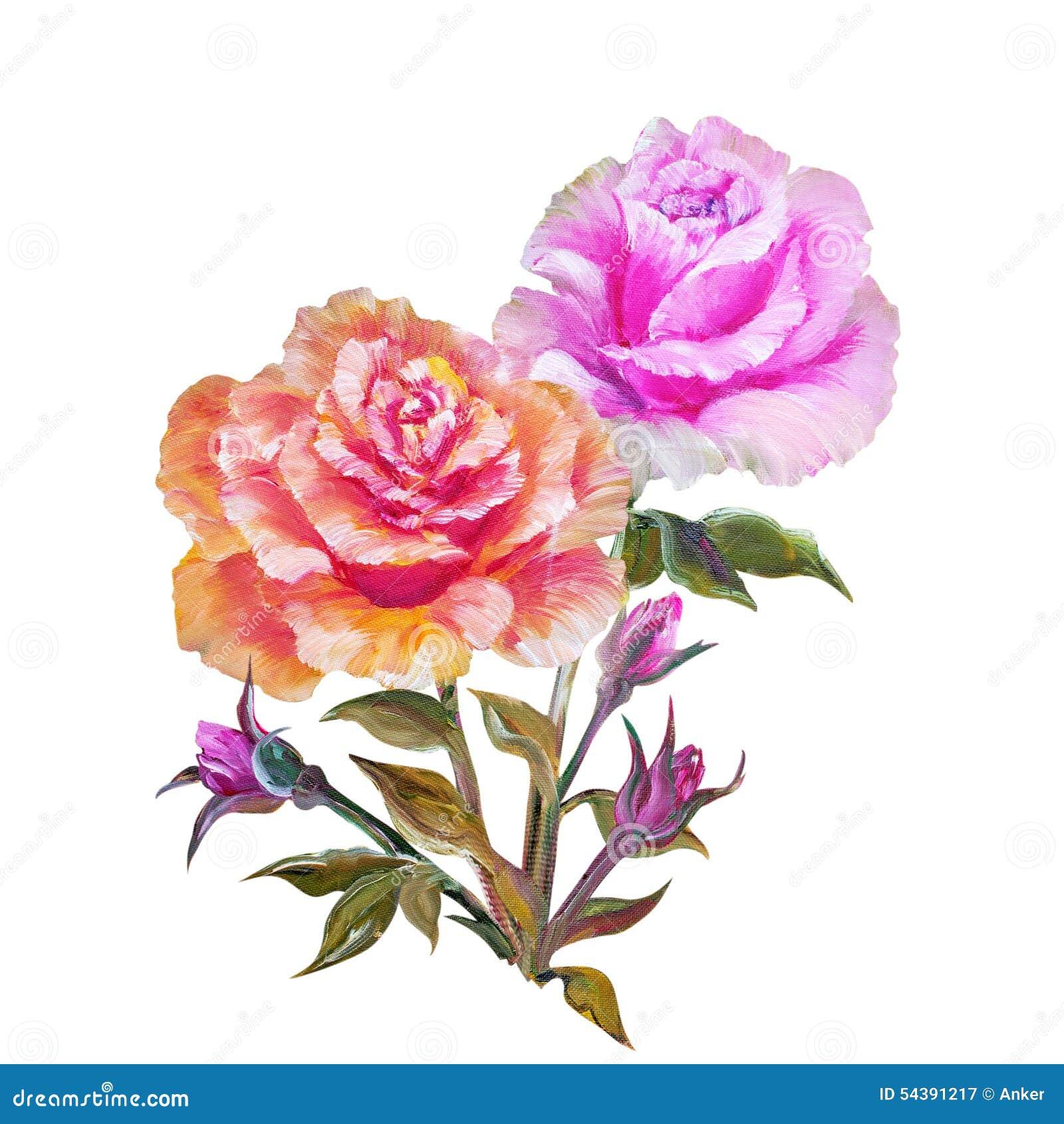 Rose A Isole Sur Le Blanc Peinture A L Huile Illustration Stock