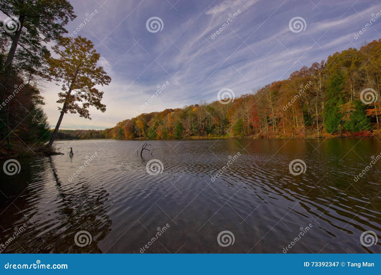 Rose Lake bij Hocking-Heuvels in de herfst