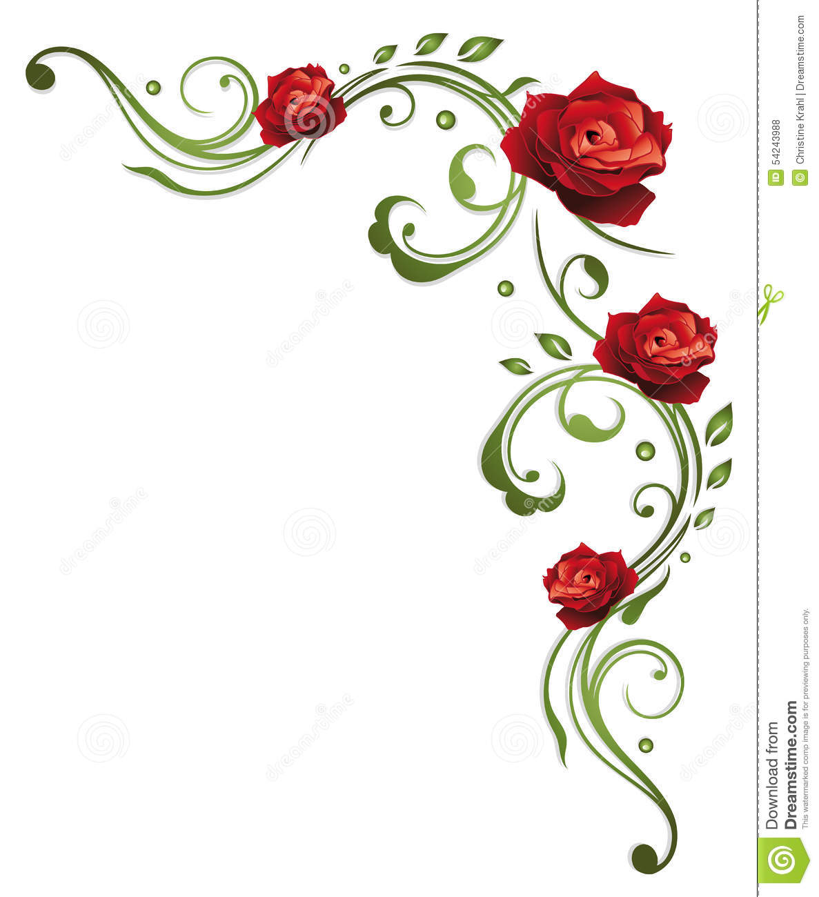 Rose, Leaves Stock Vector - Image: 54243988