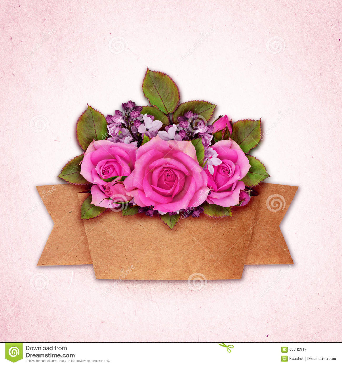 Rose and lilac flowers bouquet with craft paper ribbon stock image download rose and lilac flowers bouquet with craft paper ribbon stock image image of square mightylinksfo