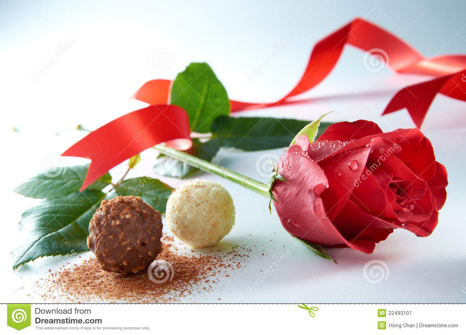 Rose mit Schokolade