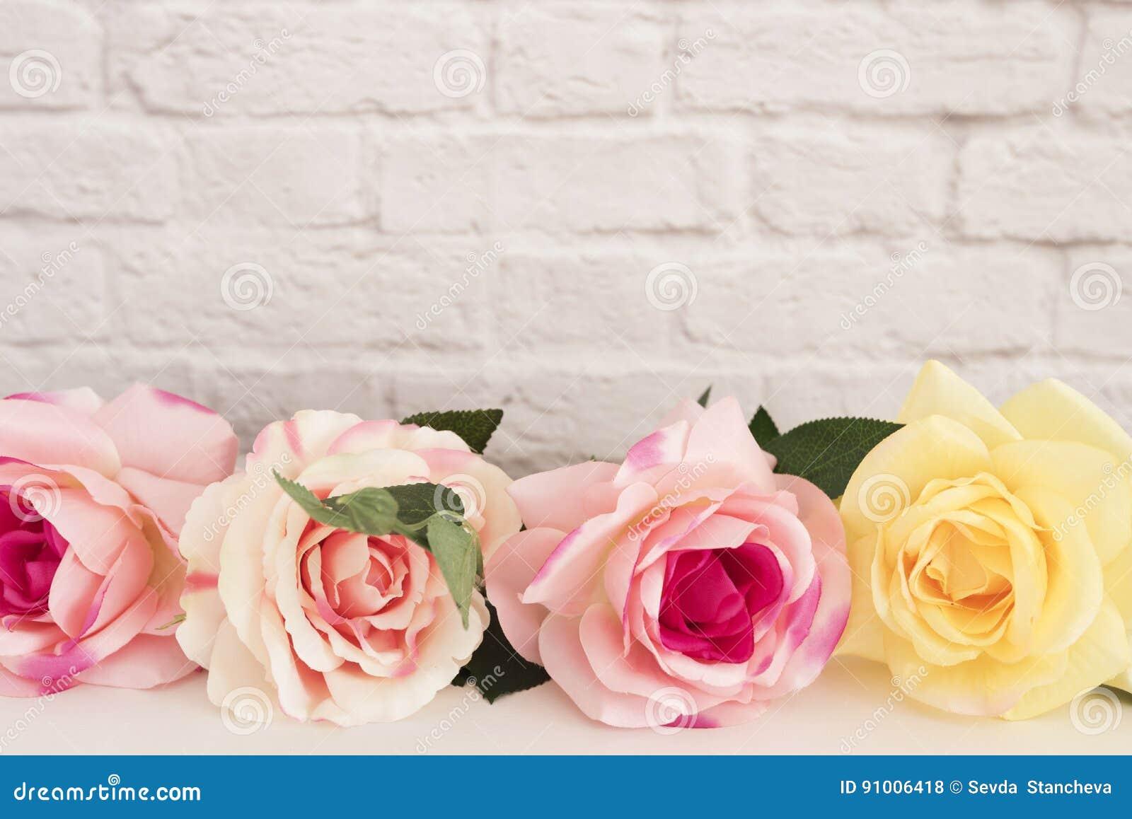 Rose Mock Up rosa Fotografia di riserva disegnata Struttura floreale, derisione disegnata della parete su Rose Flower Mockup, Val