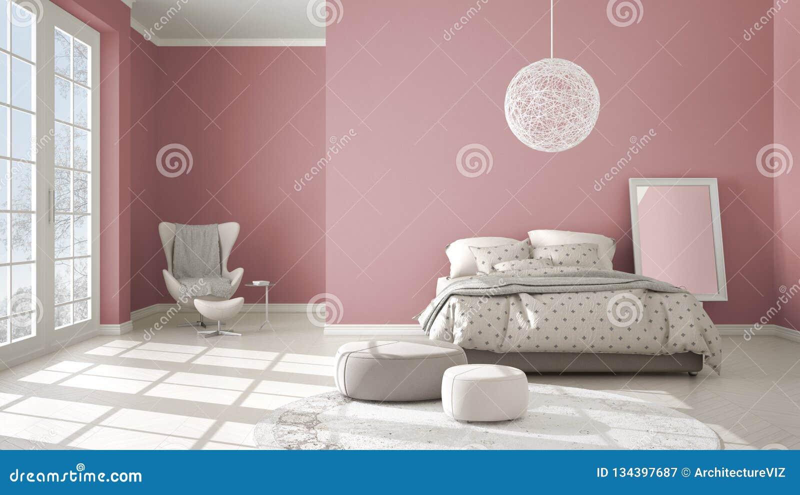 Rose moderne coloré et chambre à coucher beige avec le plancher de parquet en bois, la fenêtre panoramique sur le paysage d hiver