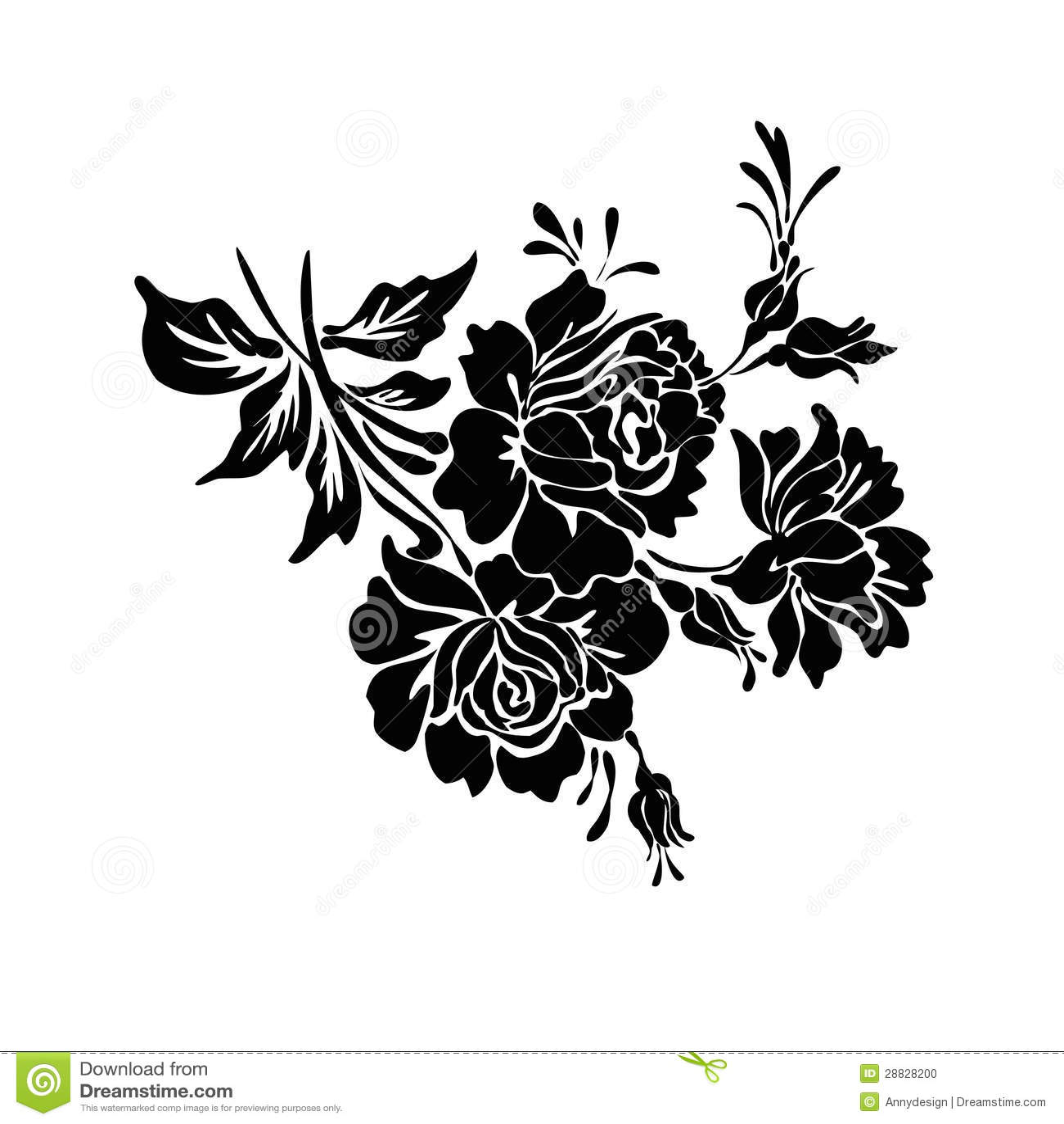 Rose Motif Design Sketch Stock Photo Image 28828200