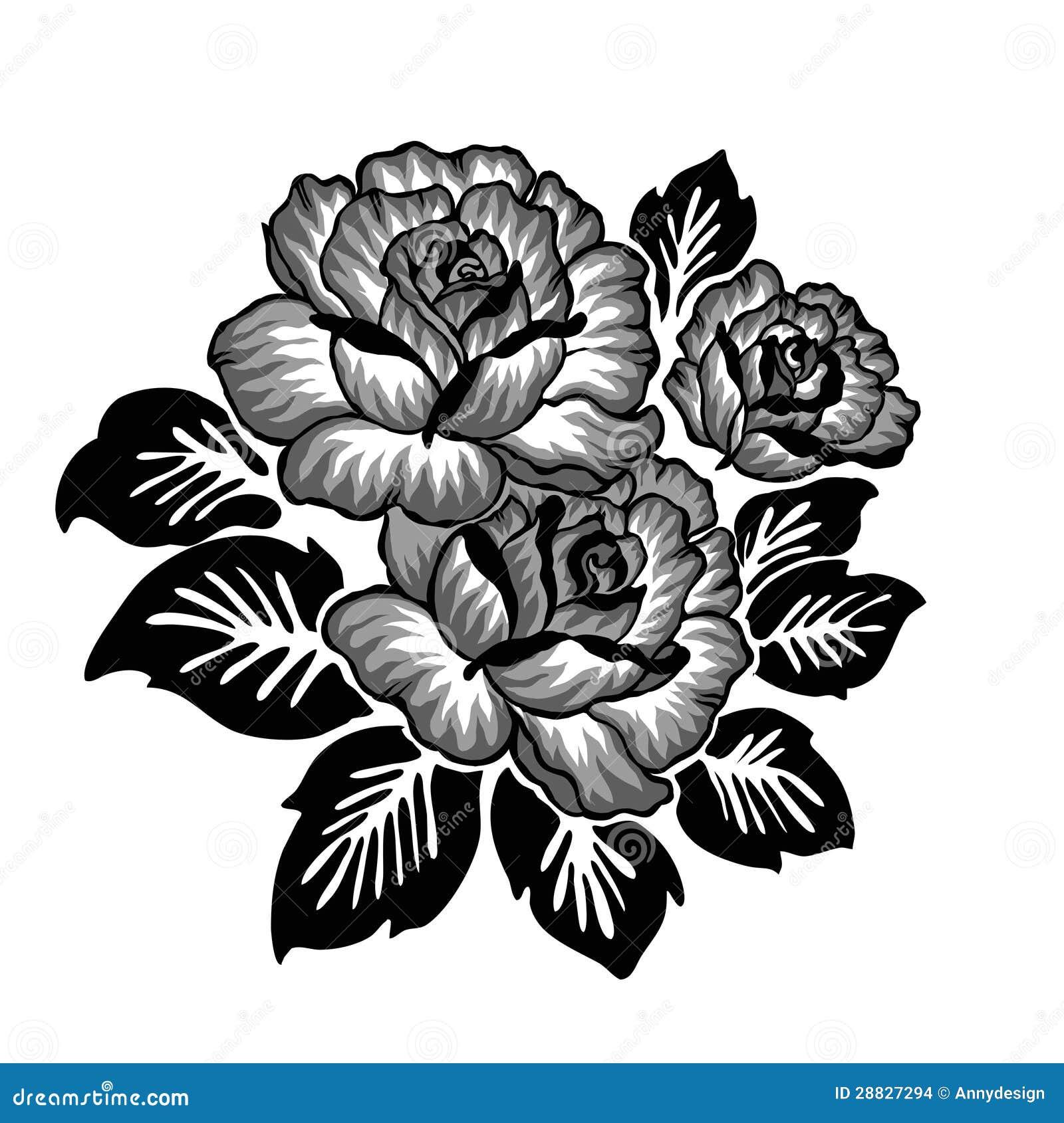 Rose Motif Sketch Pattern Stock Illustration Illustration